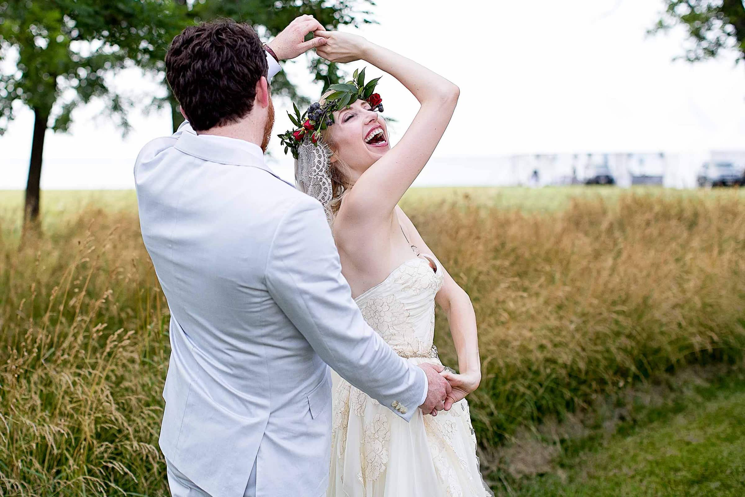 Emotional photo of Lisa and Brian dancing together before their Chesapeake Bay wedding in Maryland at Wades Point Inn.