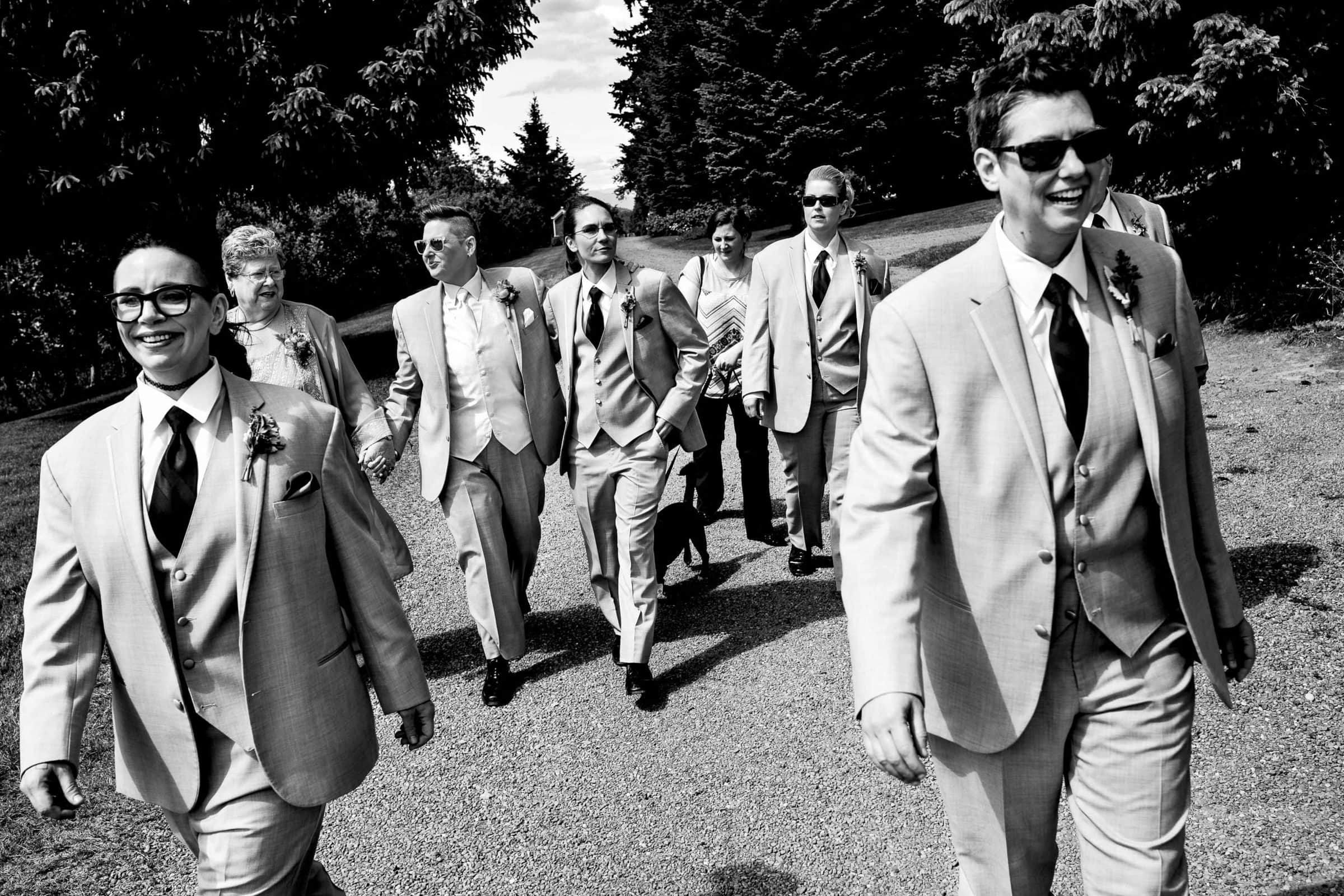 The bride groomsmen walking down to the reception at a Mt Hood organic farms wedding