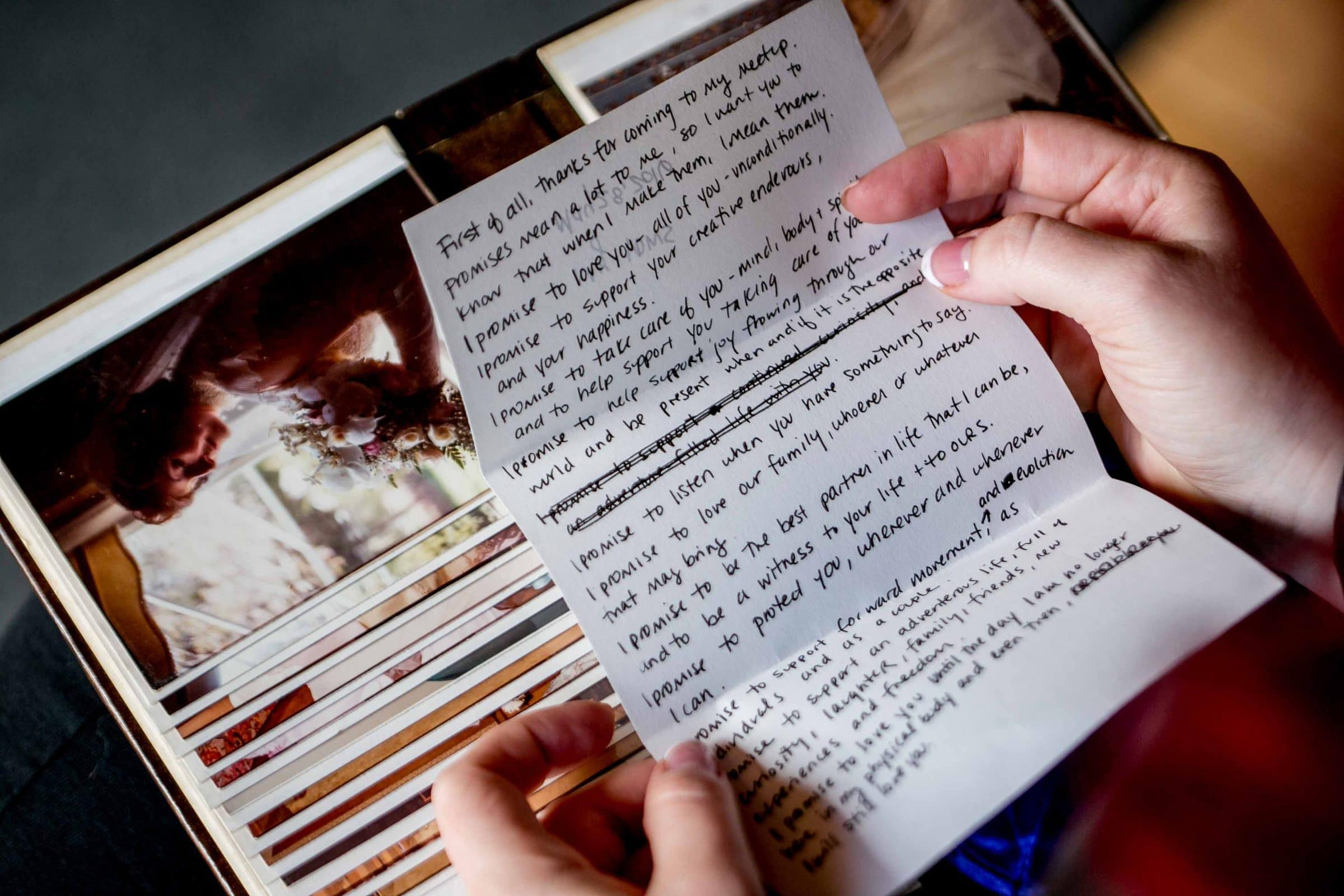 A photo of a love letter from a bride to a bride while getting ready for a Mt Hood Organic Farms Wedding
