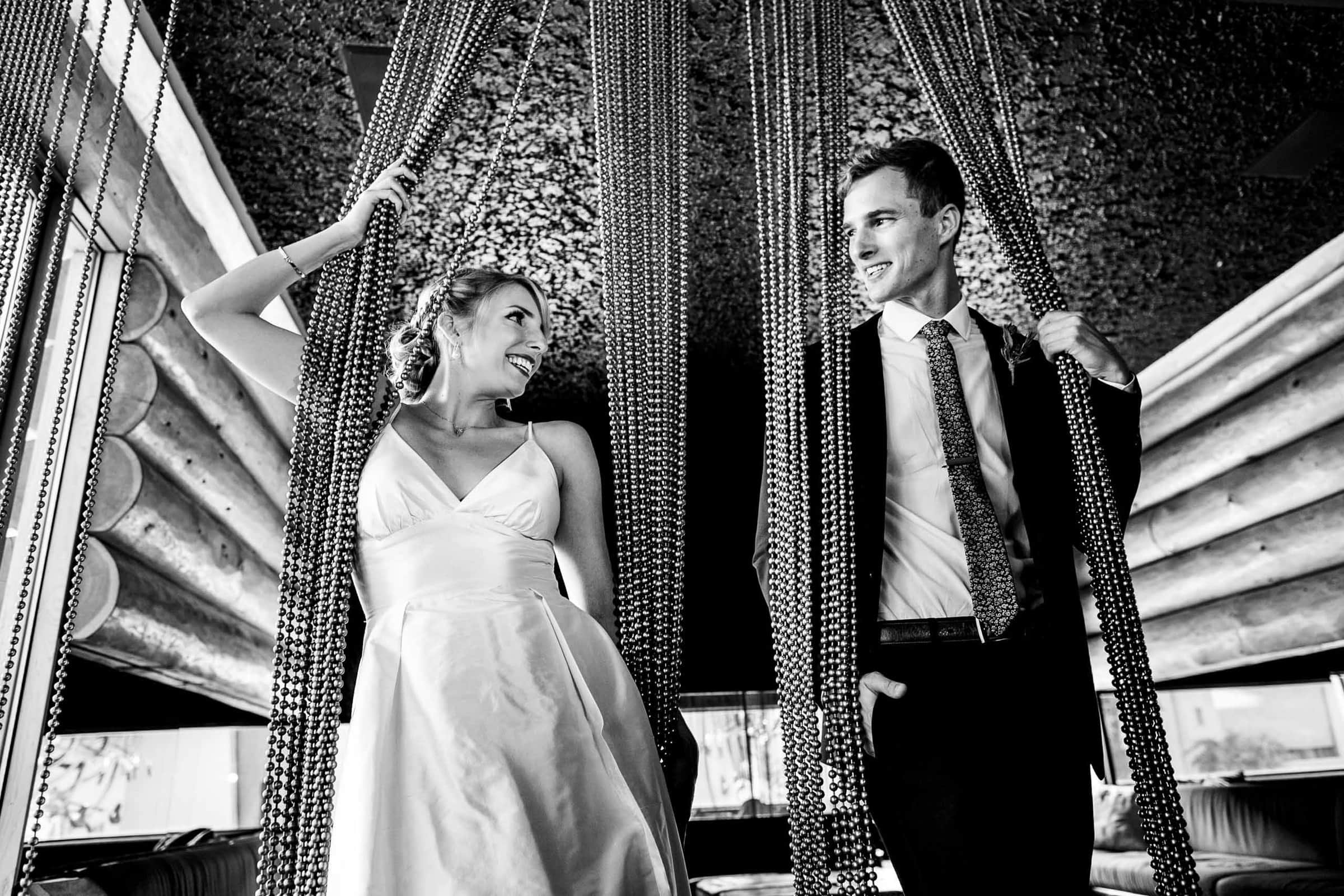 creative photo of a bride and groom at The Jupiter Hotel before heading to during their camp angleos wedding photographed by jos and tree and wedding coordination by luxe event productions