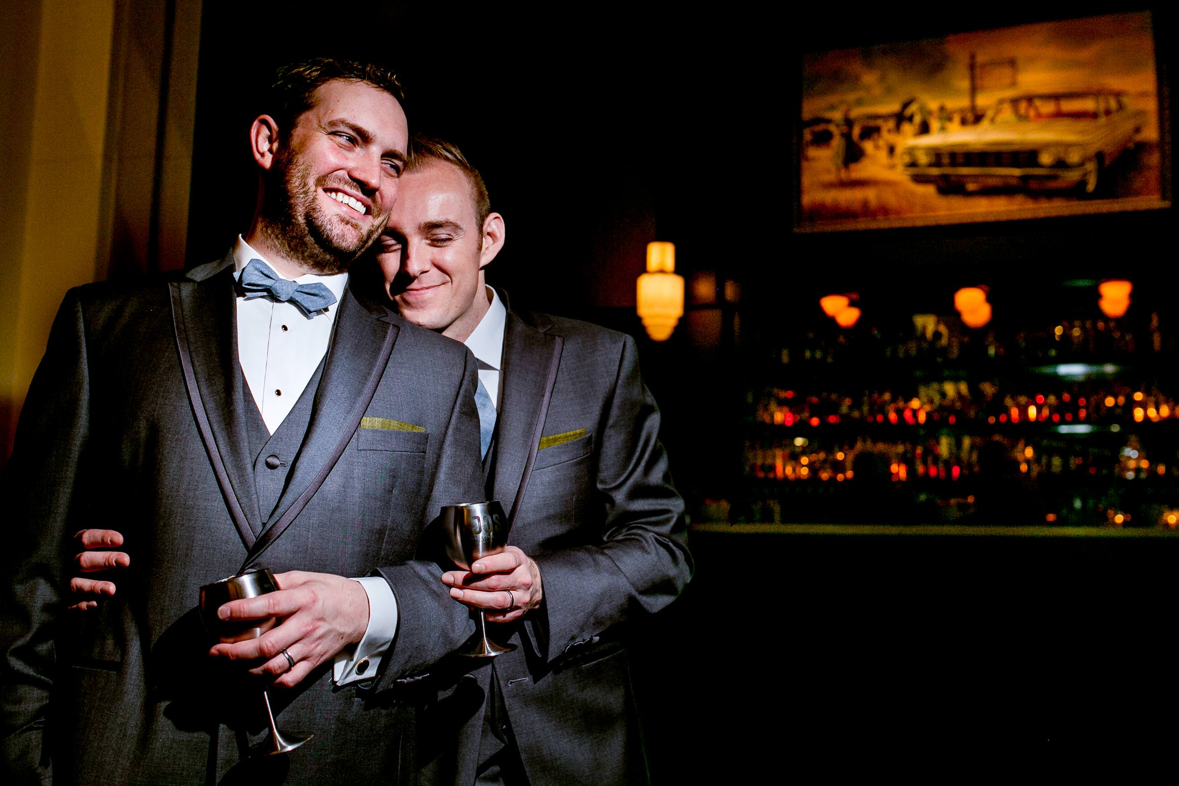 Creative Portrait of two grooms getting married at Castaway Portland