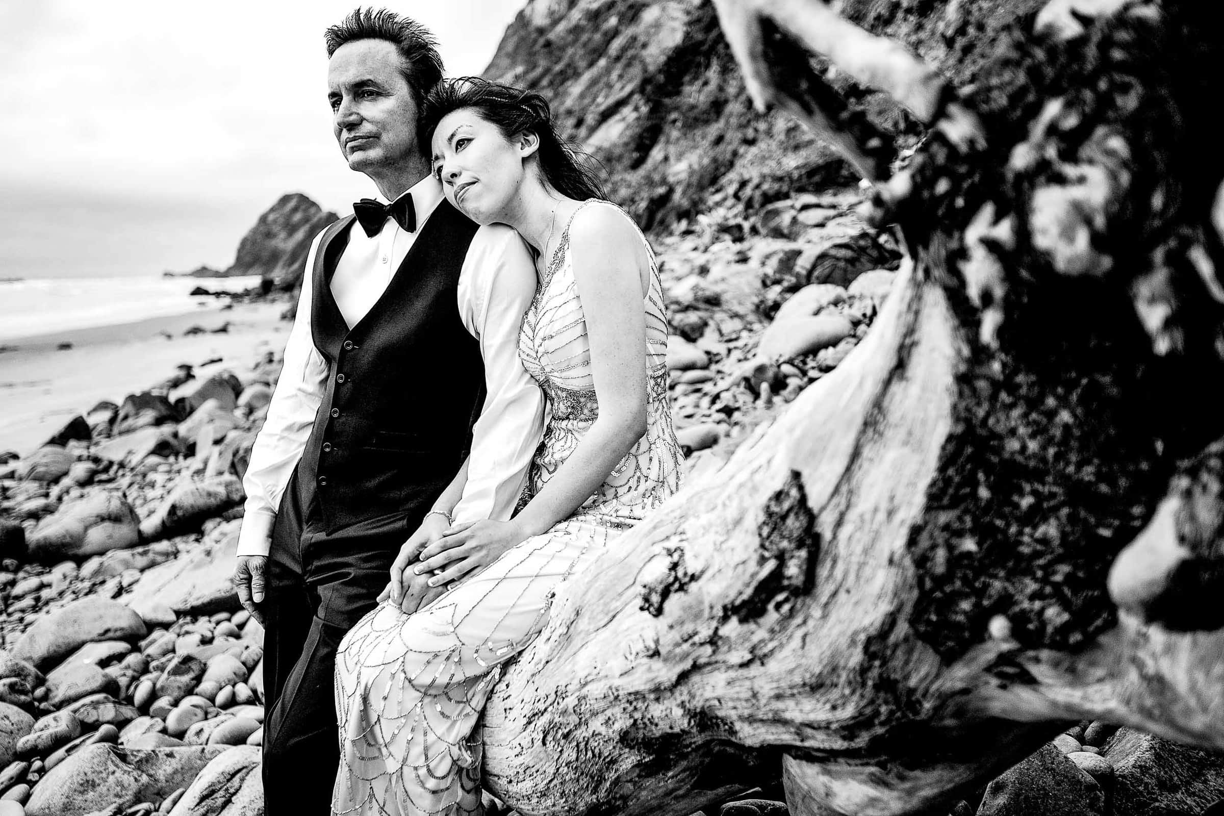 Bride and groom black and white portrait on the beach during their Manzanita elopement in Oregon