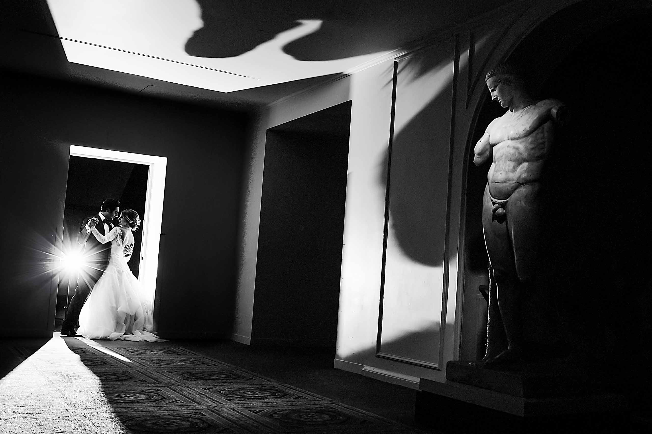 Bride and Groom first dance at Portland Art Museum. Award winning photos by Jos and Tree.