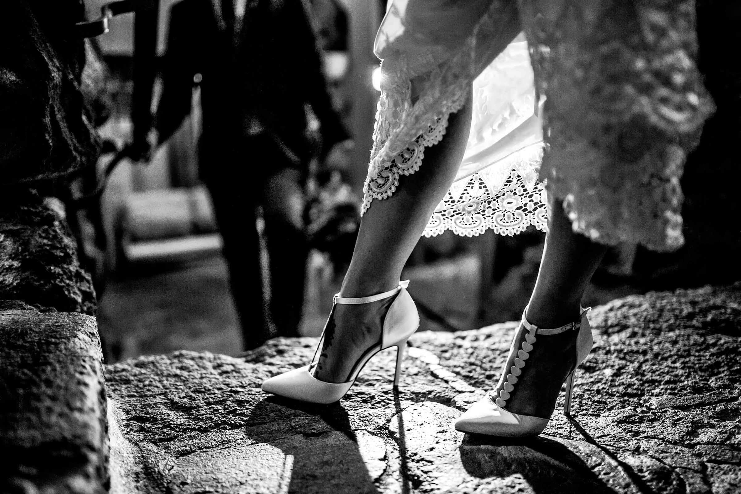 Bride's sassy shoes moments after their Silcox Hut Wedding ceremony atop Mt Hood above Timberline Lodge.