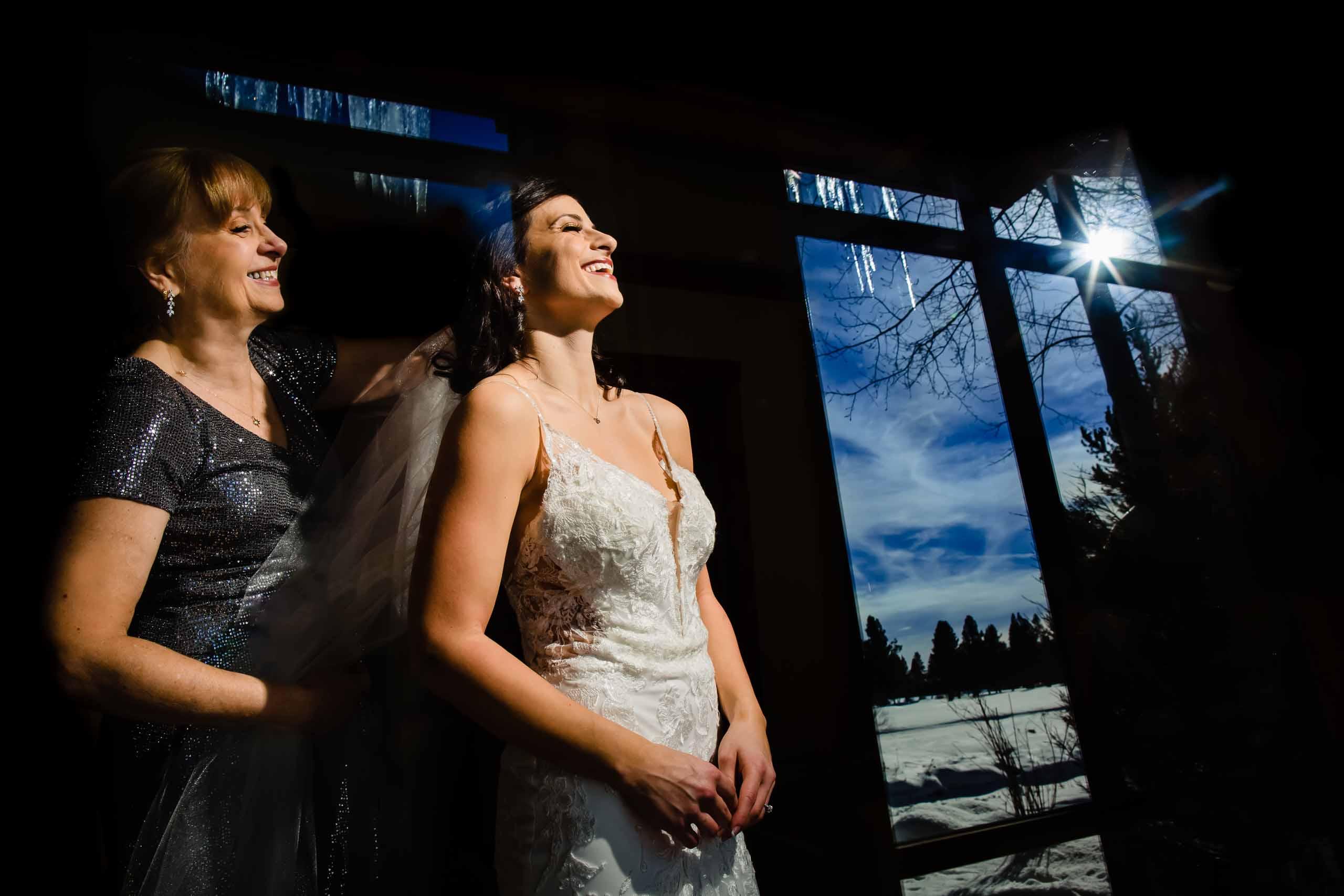 Fantastic photo of bride getting reading for her Sunriver Resort wedding in Oregon