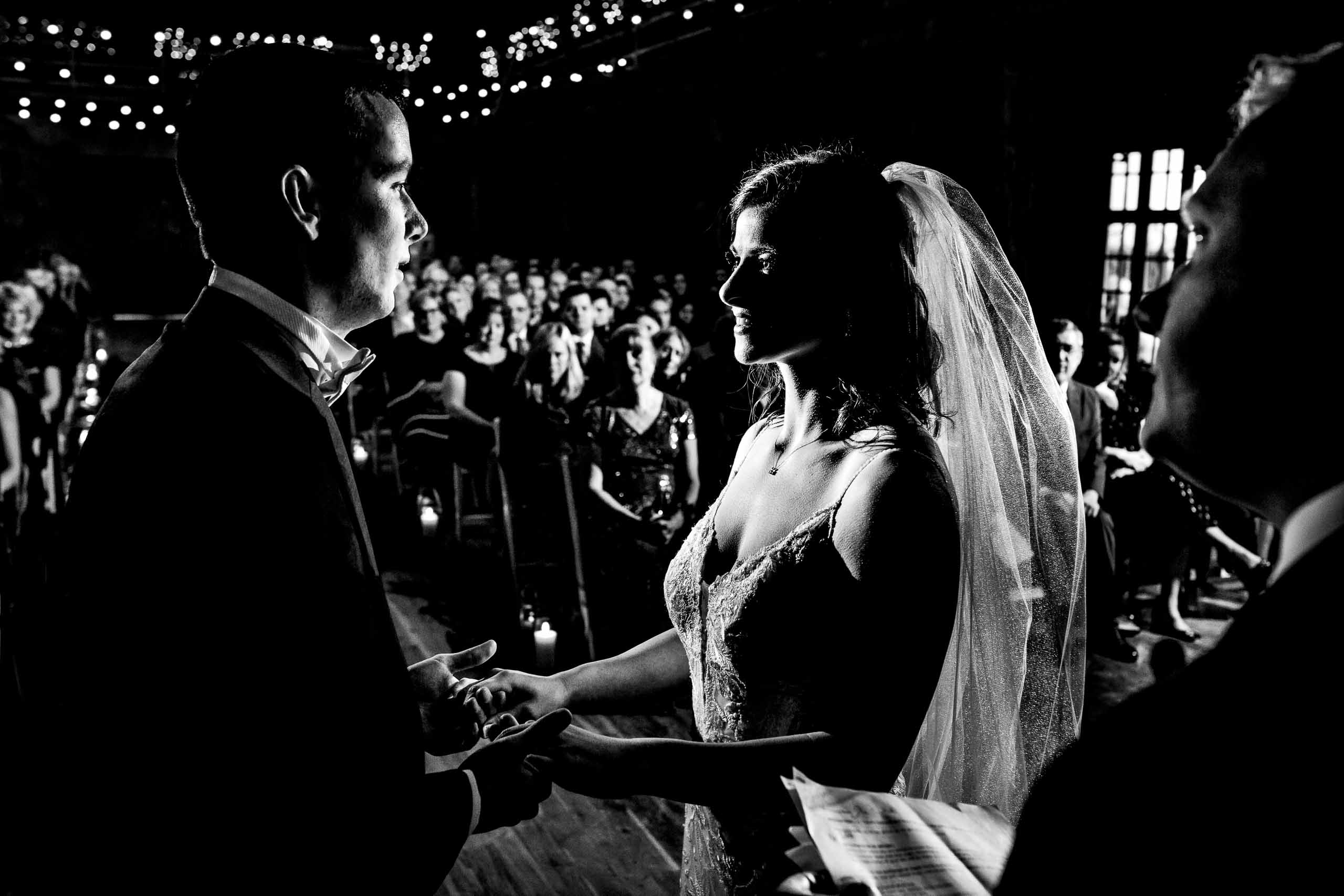 Beautifully lit photo of bride and groom during their Sunriver Resort wedding in Oregon