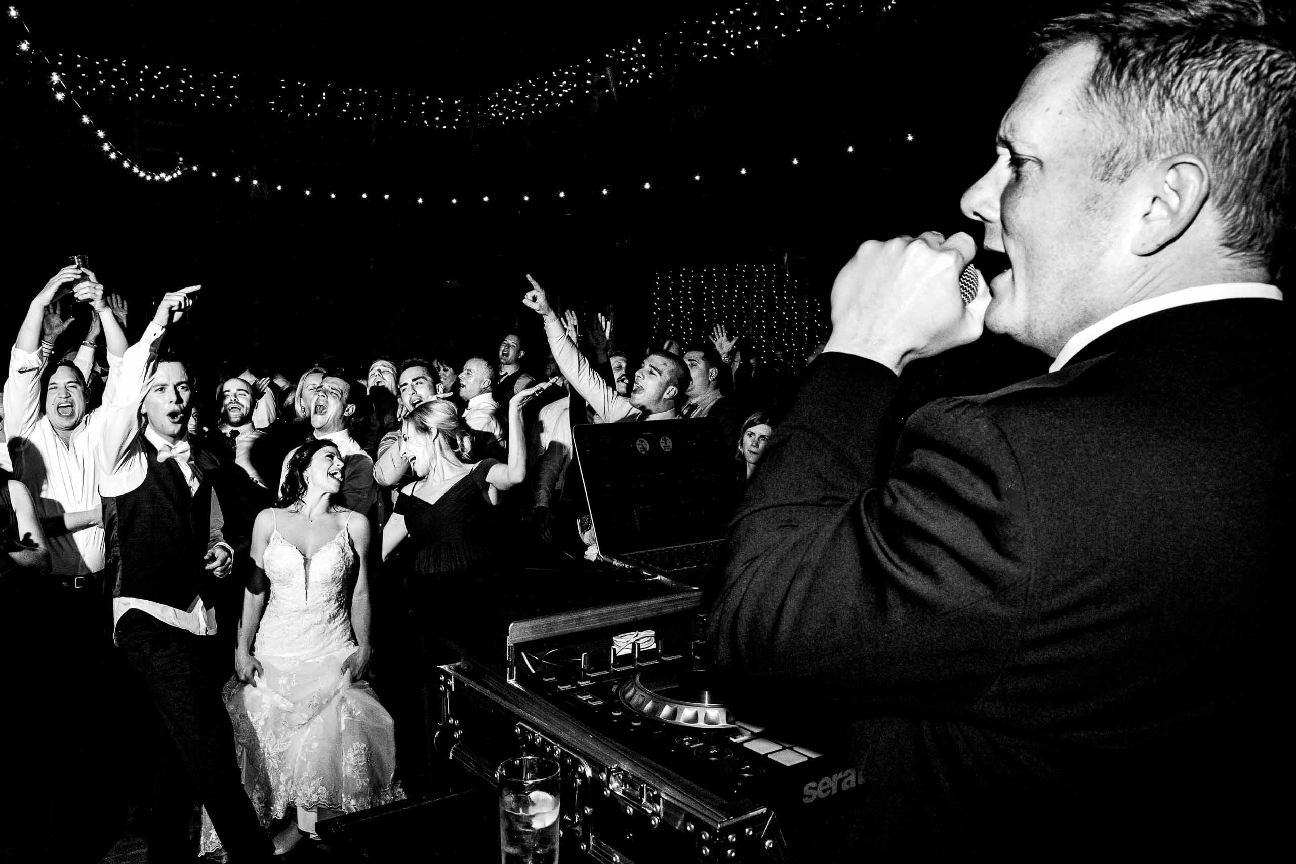 Super fun reception photo during a Sunriver Resort wedding reception in Oregon