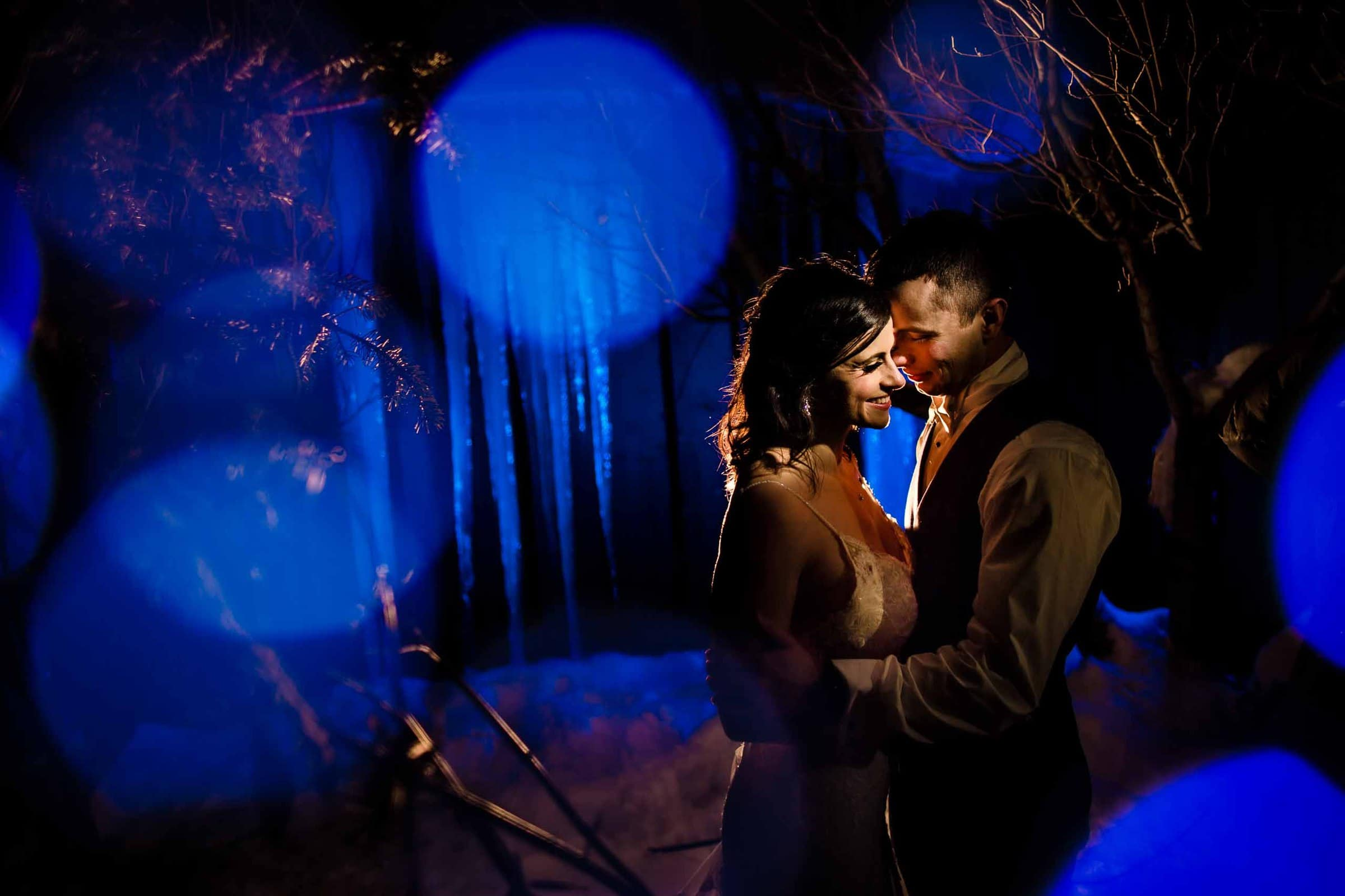 A very creative and intimate night photo of bride and groom during their Sunriver Resort Wedding in Oregon