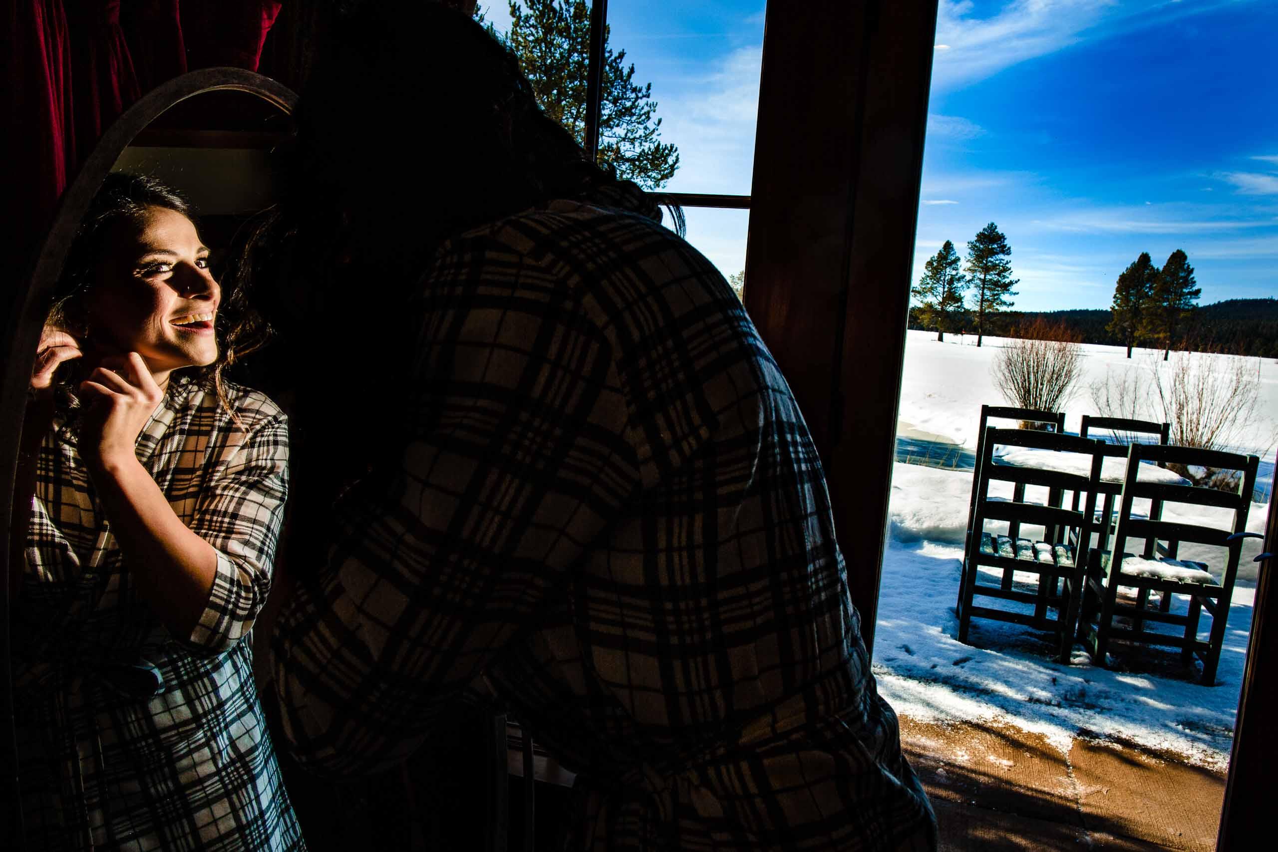 Fantastic photo of bride getting ready for her Sunriver Resort Wedding in Oregon