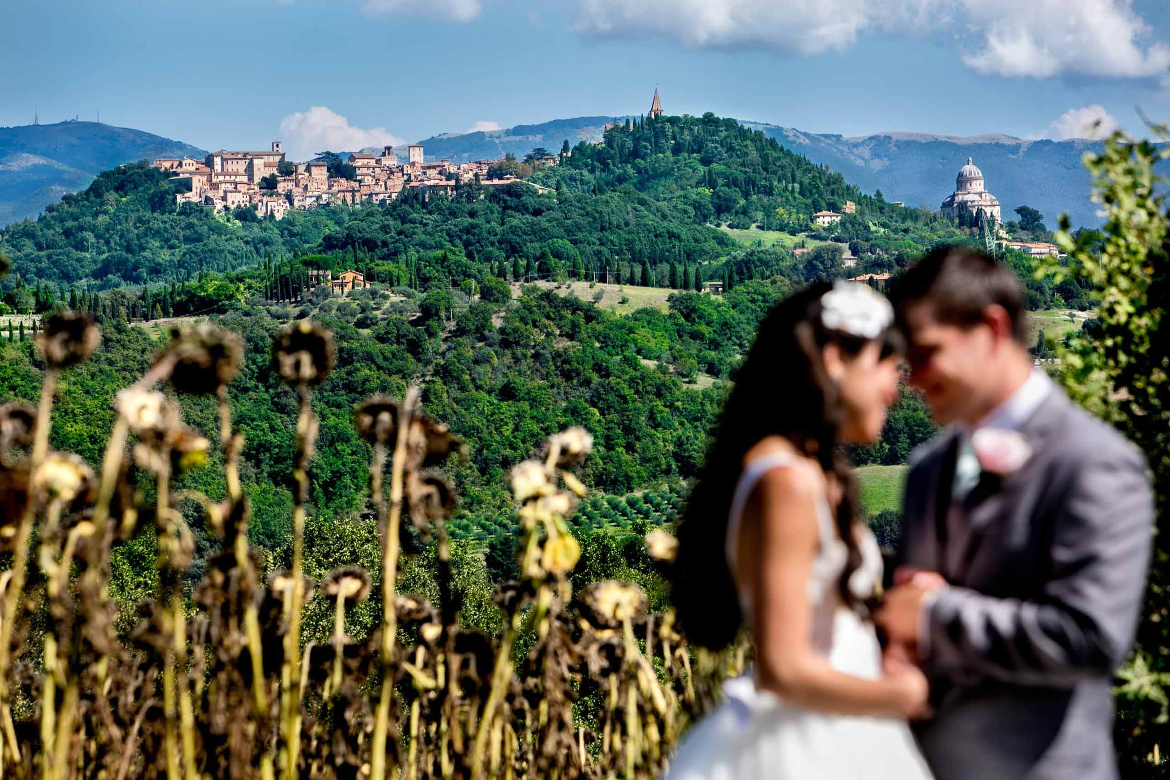 Bride and groom in a sunflower field looking out over the valley before their Villa Tre Grazie Wedding in Umbria near Todi, Italy.