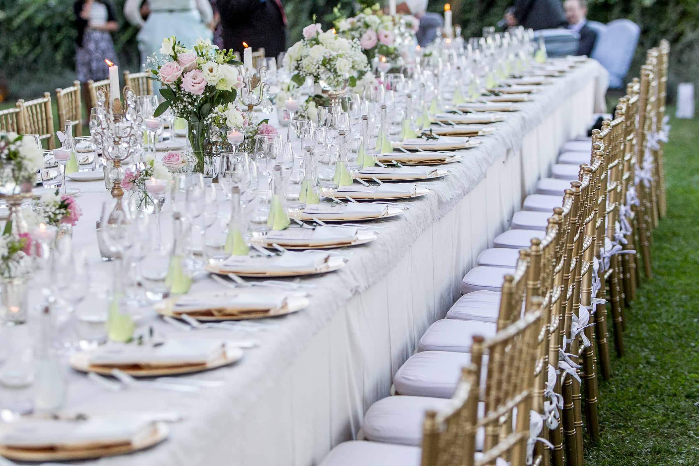 Gorgeous reception table from a Villa Tre Grazie wedding in Umbria near Todi, Italy.