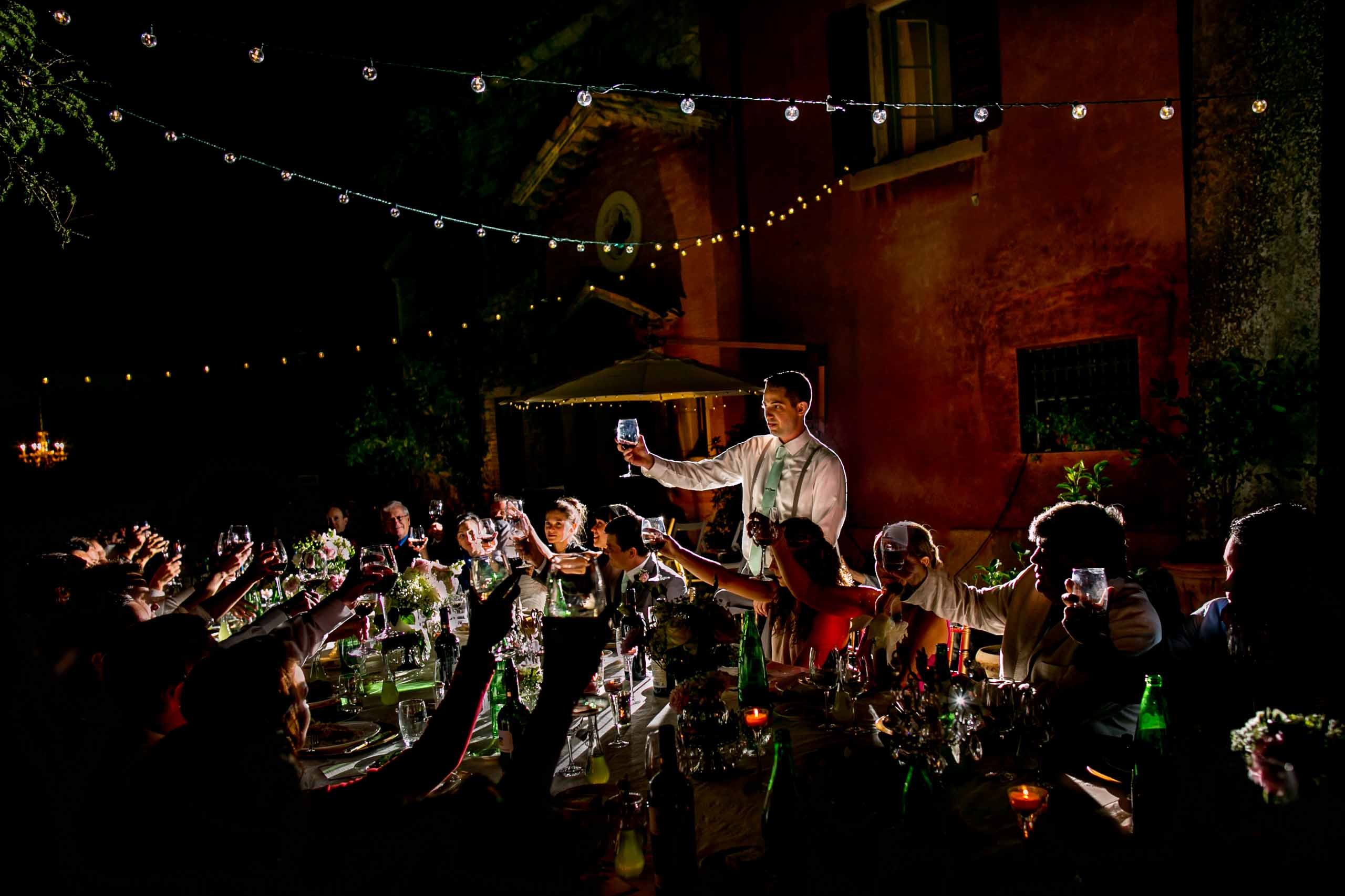 Best man toast at a Villa Tre Grazie wedding near Todi, Italy in Umbria.