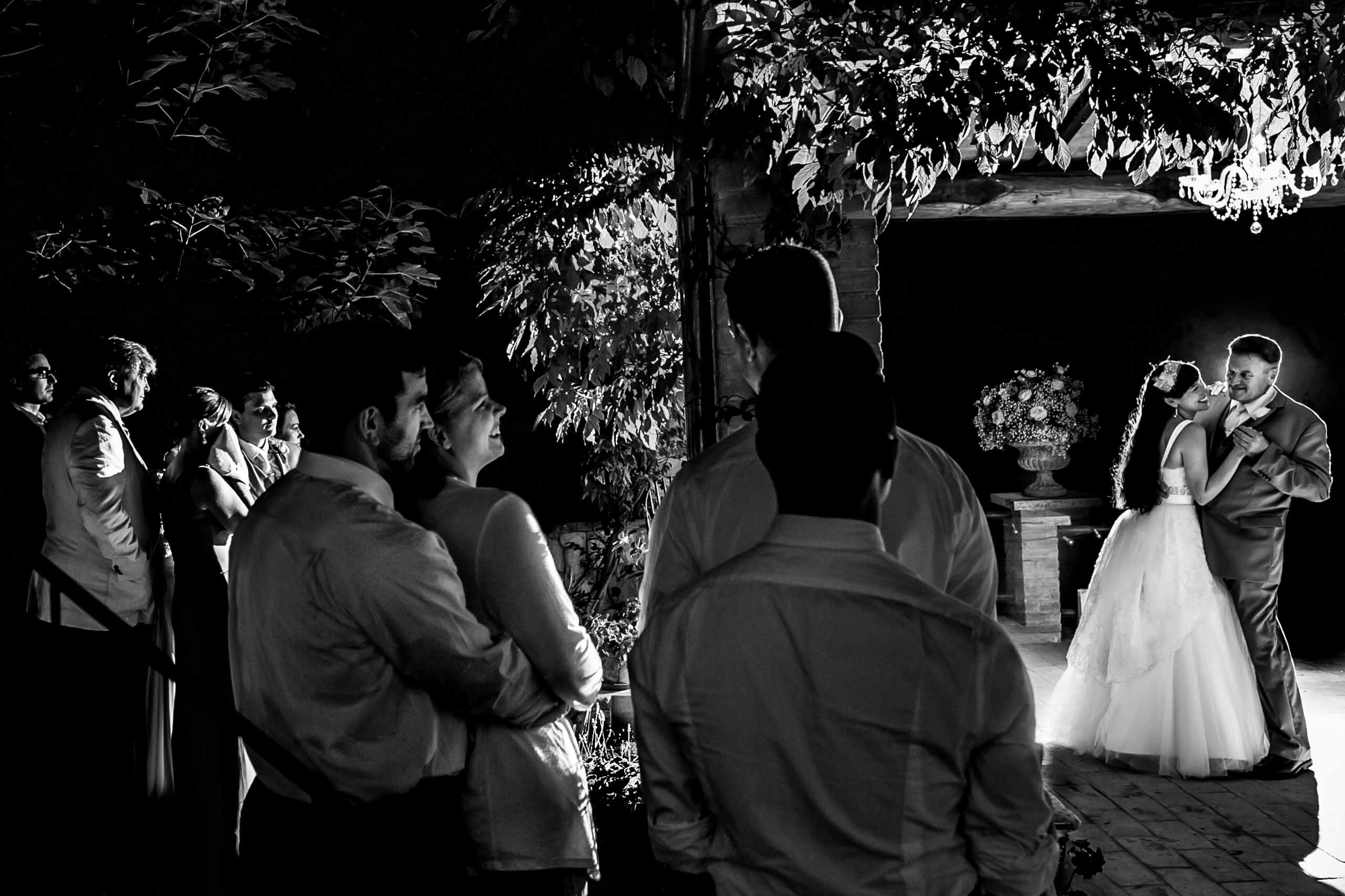 First dance with father and the bride during a Villa Tre Grazie wedding reception near Todi, Italy in Umbria.
