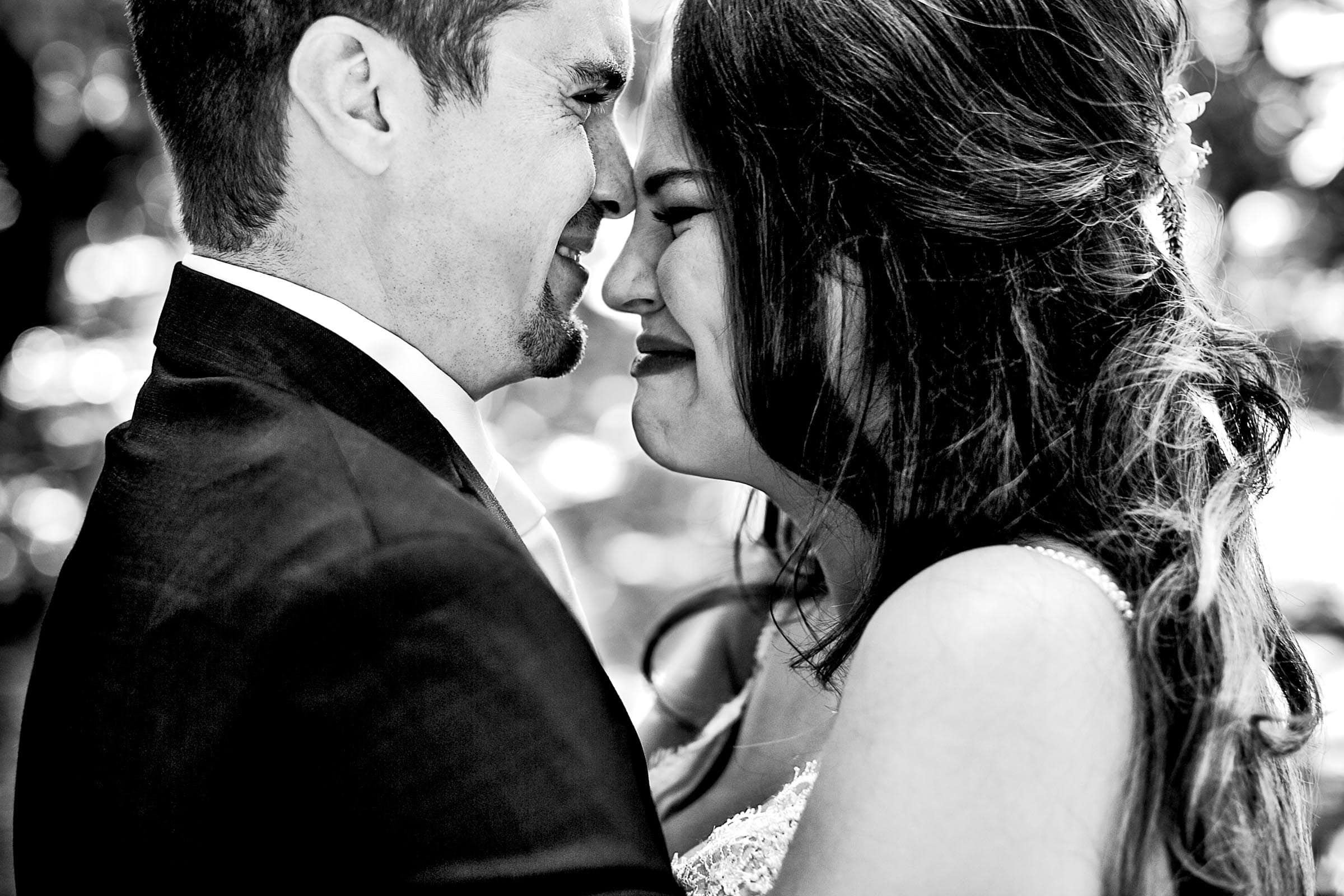 Emotional photo of bride and groom during their Ohana Barn Wedding in Corvallis, Oregon