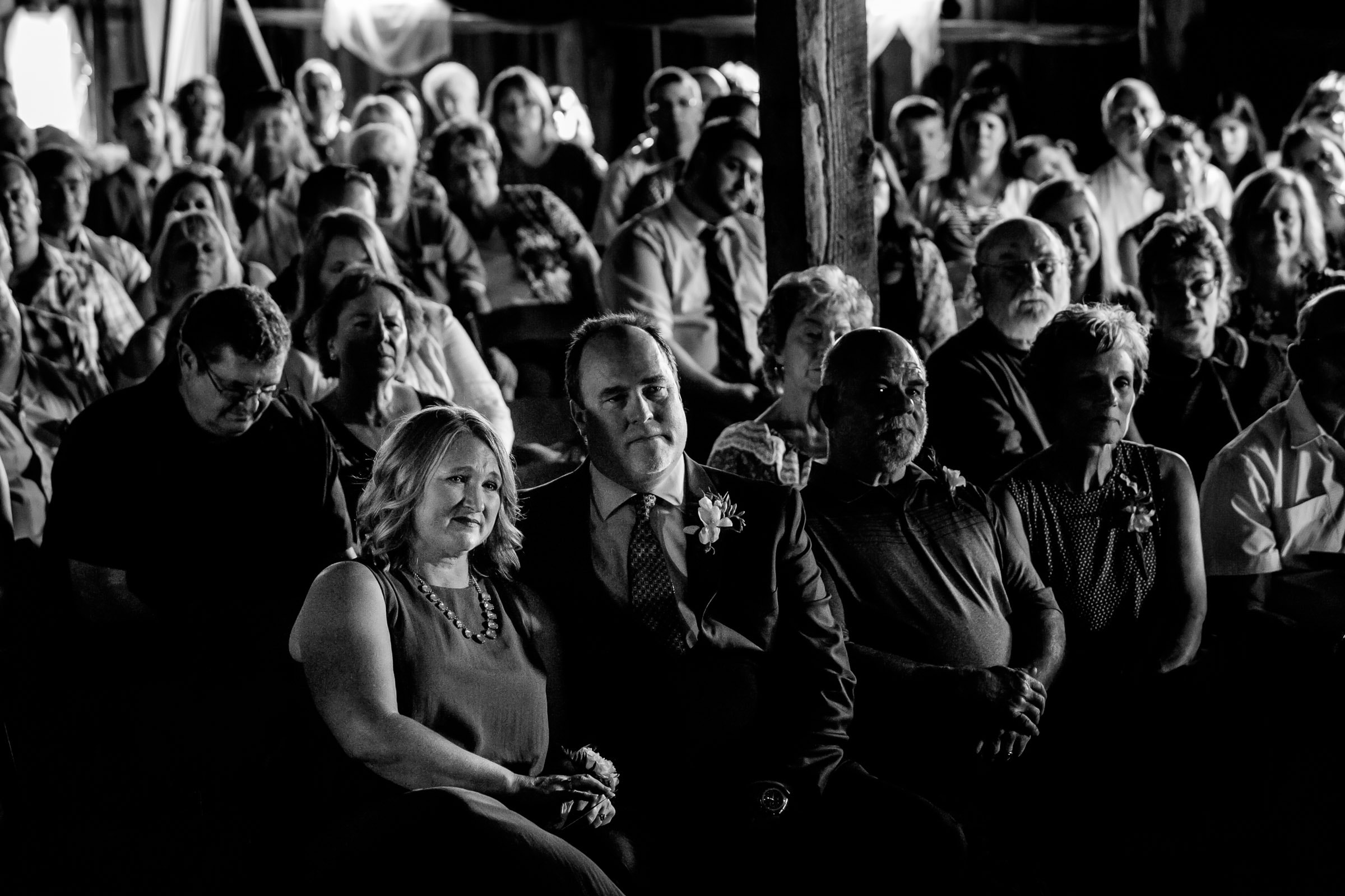 Emotional parents during an Ohana Barn wedding ceremony in Corvallis, Oregon
