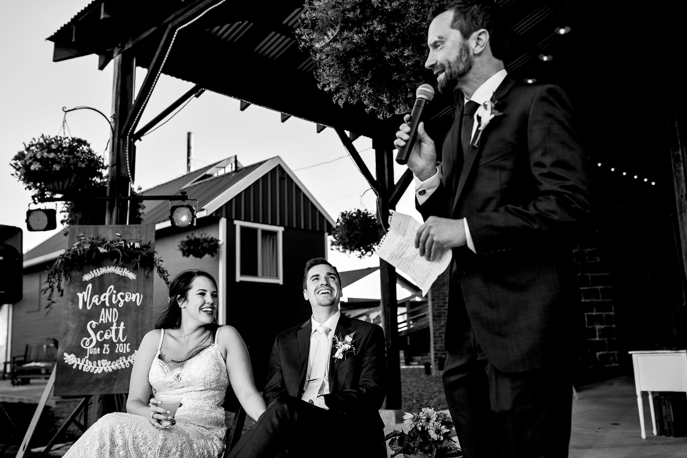 Best man speech during an Ohana Barn wedding reception