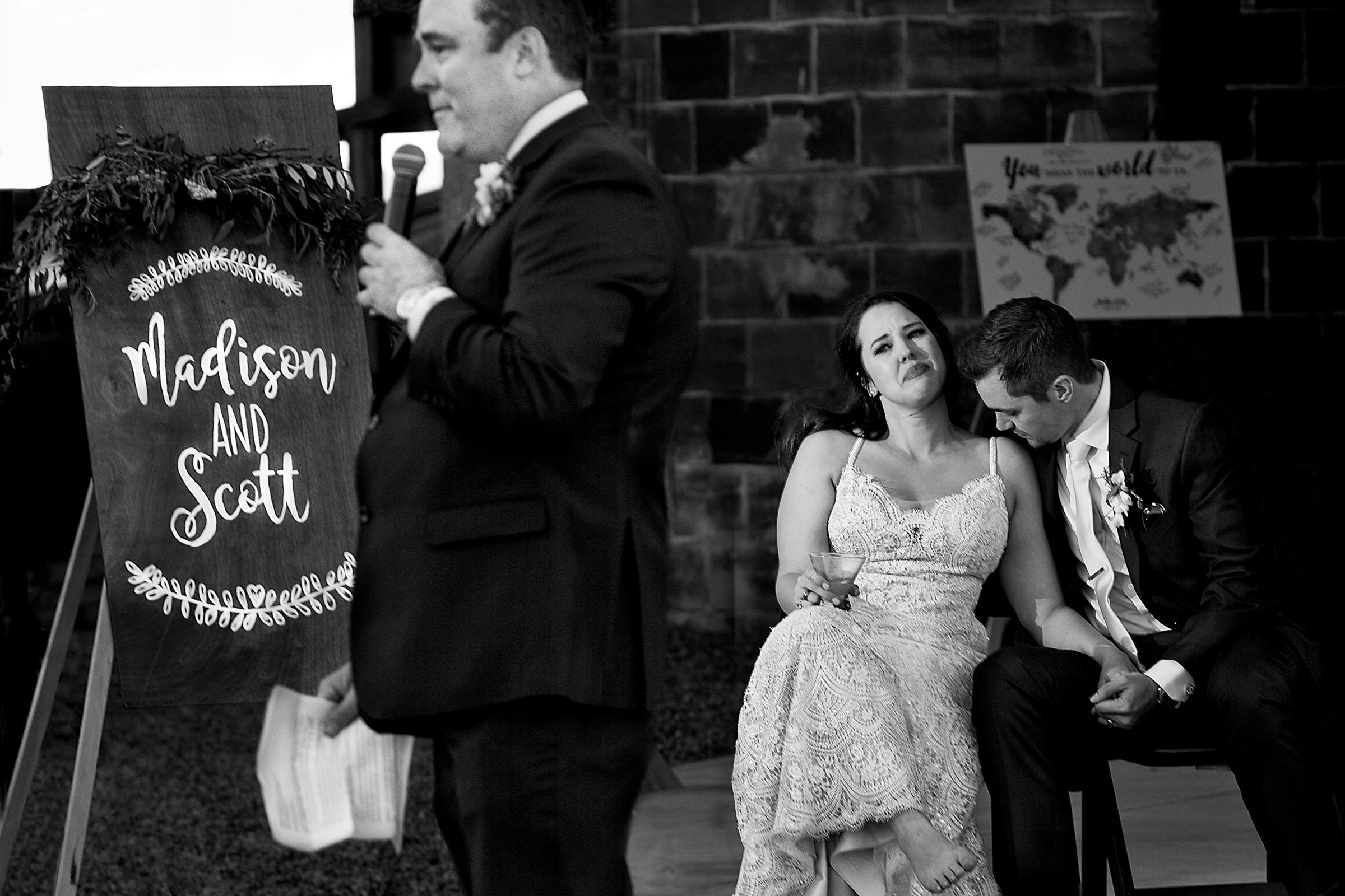 Emotional fathers speech during an Ohana Barn wedding reception in Corvallis, Oregon
