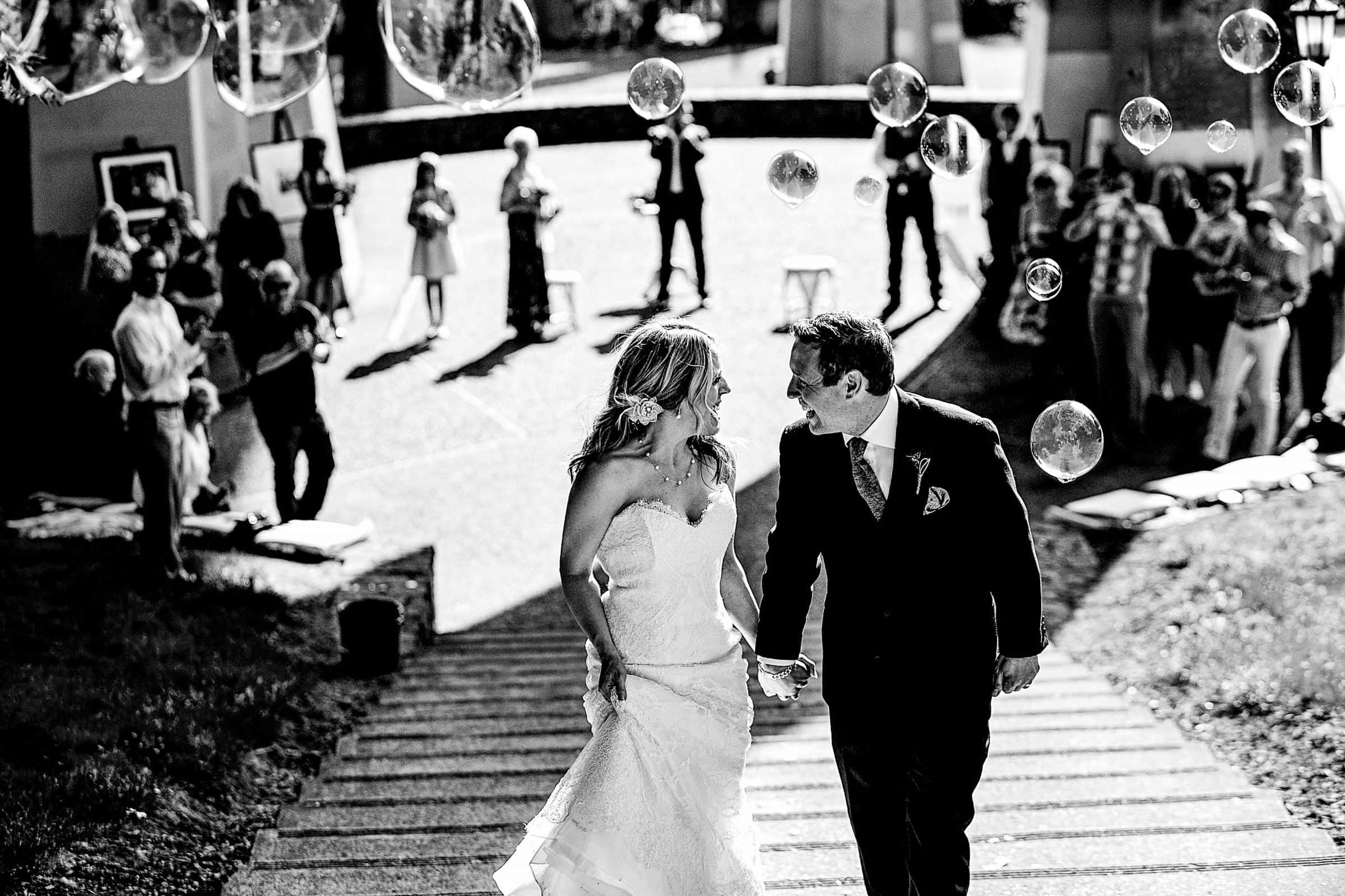 Bride and Groom exiting their ceremony at Cathedral Park Wedding Portland Oregon