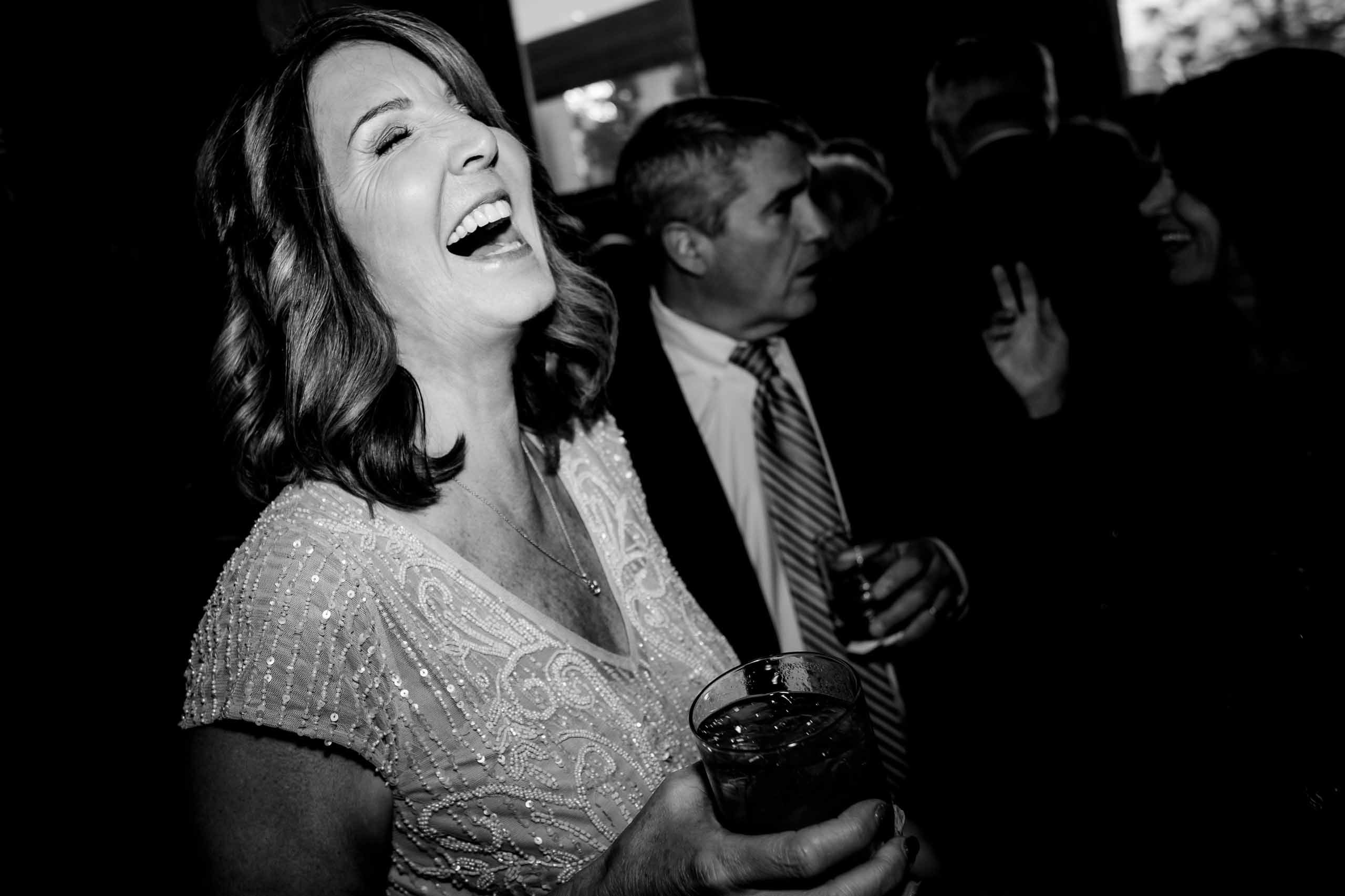 Bride laughing before her small Portland Wedding at the Cerulean Wine bar
