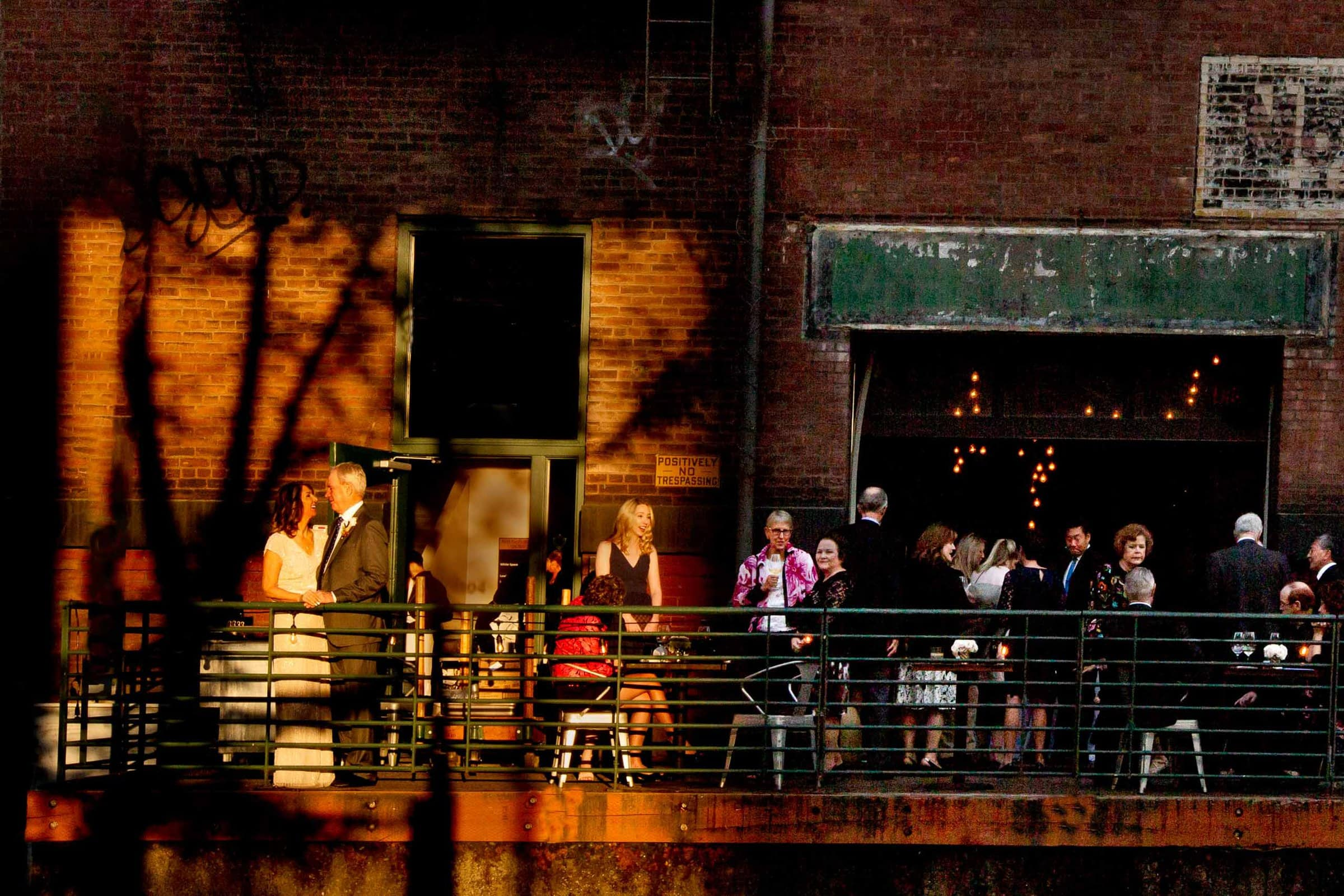 Bride and groom enjoying sunset before their small Portland Wedding at the Cerulean Wine bar