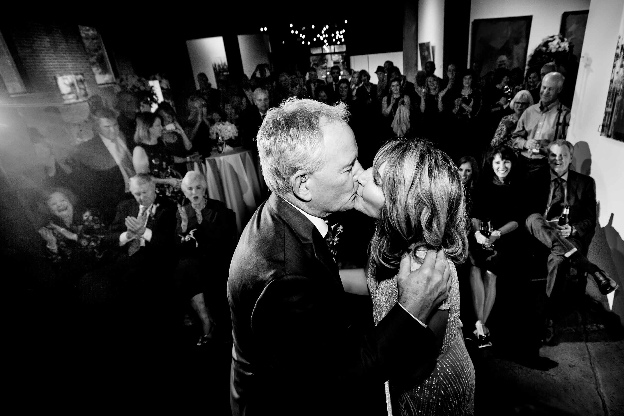 Bride and groom during ceremony during their small Portland Wedding at the Cerulean Wine bar