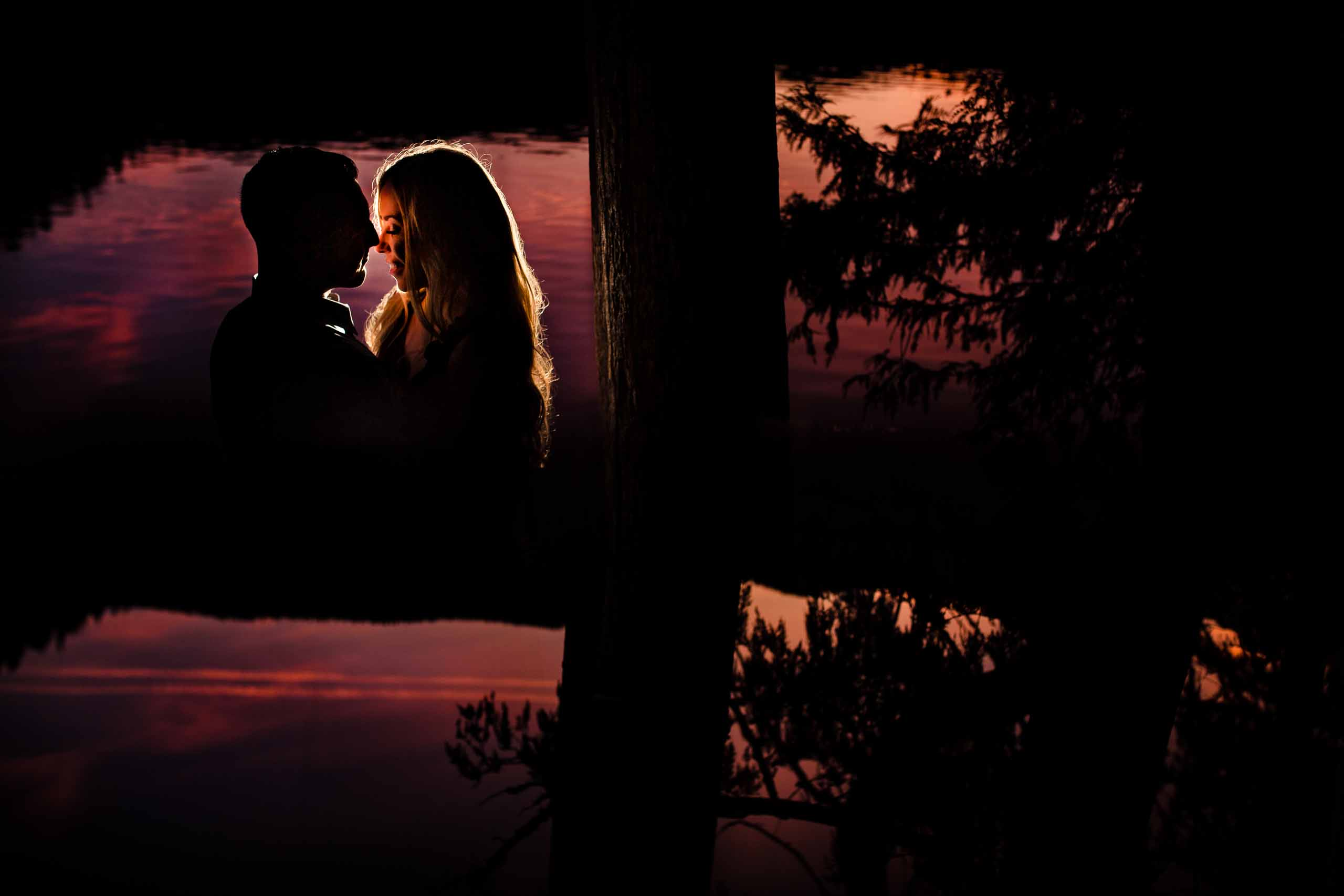 Gorgeous light on a gorgeous couple for their Lost Lake engagement photos at sunset near Sisters Oregon.