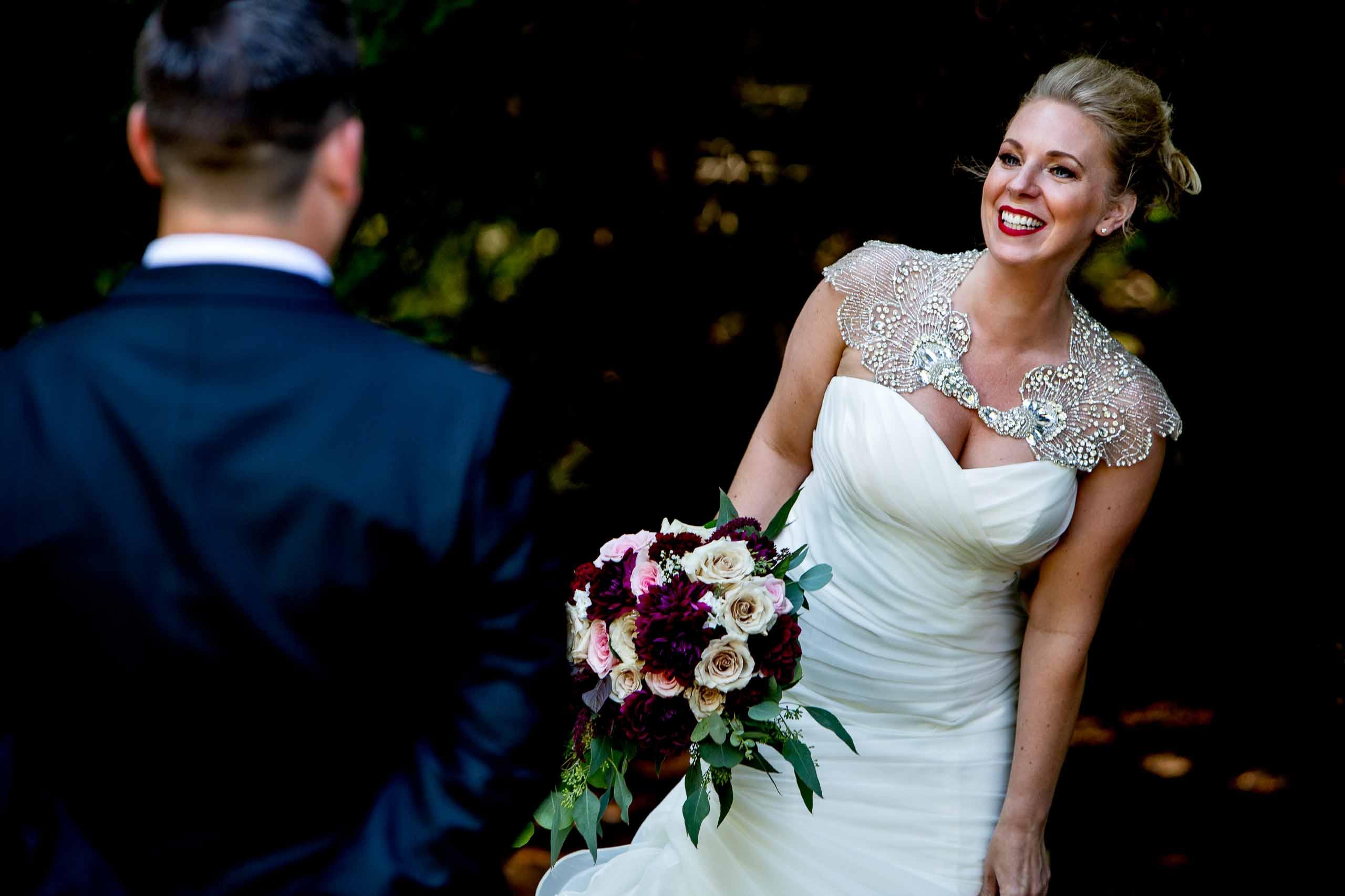 Bride seeing groom first time at Gorge Crest wedding venue near Hood River just outside Portland, Oregon.