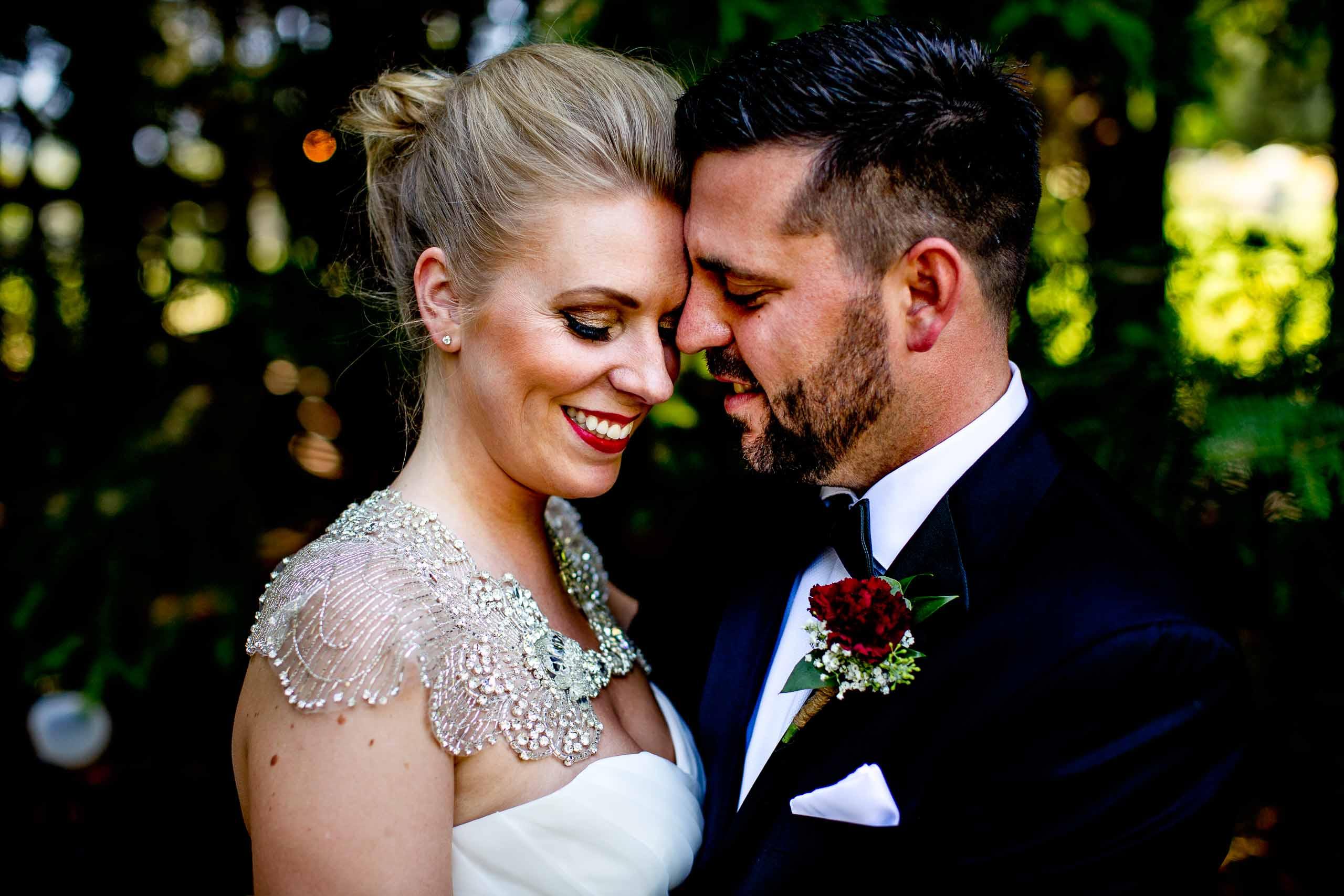 Creative portrait of bride and groom at Gorge Crest wedding venue near Hood River just outside Portland, Oregon.