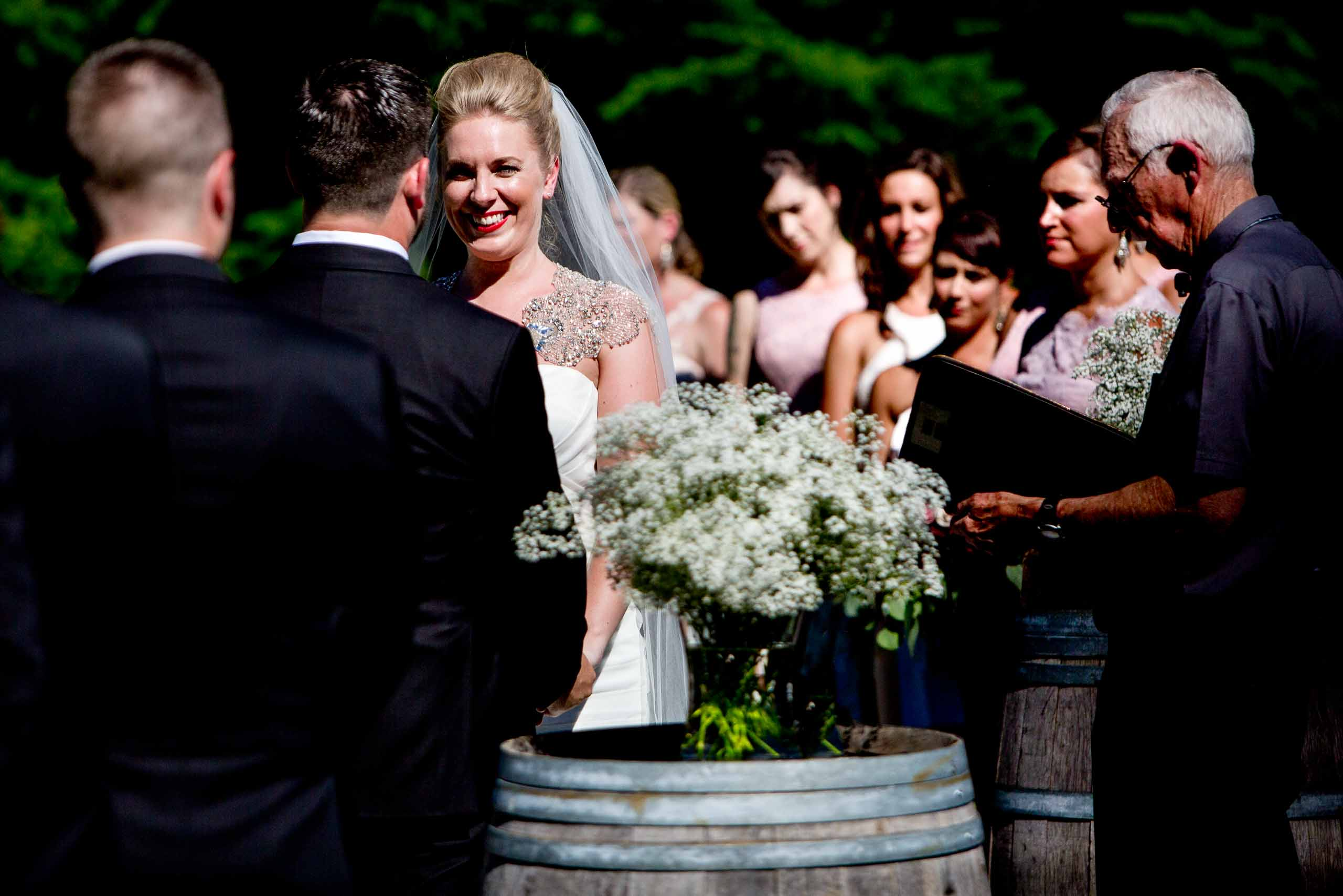 Emotional bride exchanging vows at a Gorge Crest wedding in the Columbia Gorge near Hood River just outside Portland Oregon