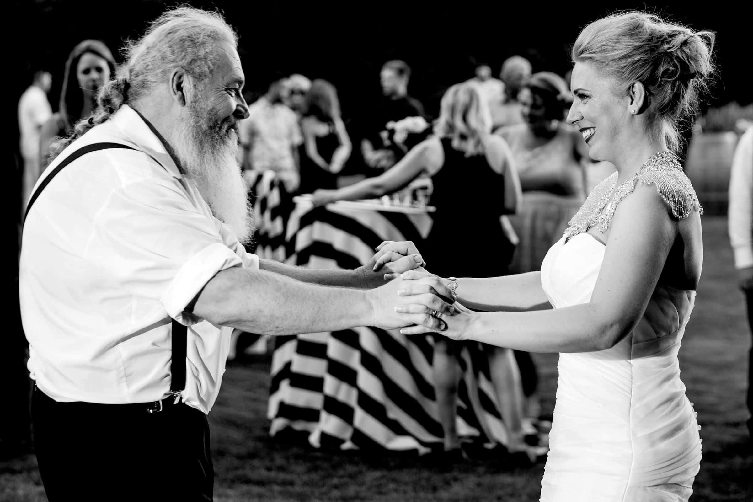 Bride and father dancing at Gorge Crest wedding venue in the Columbia River Gorge just outside Portland Oregon