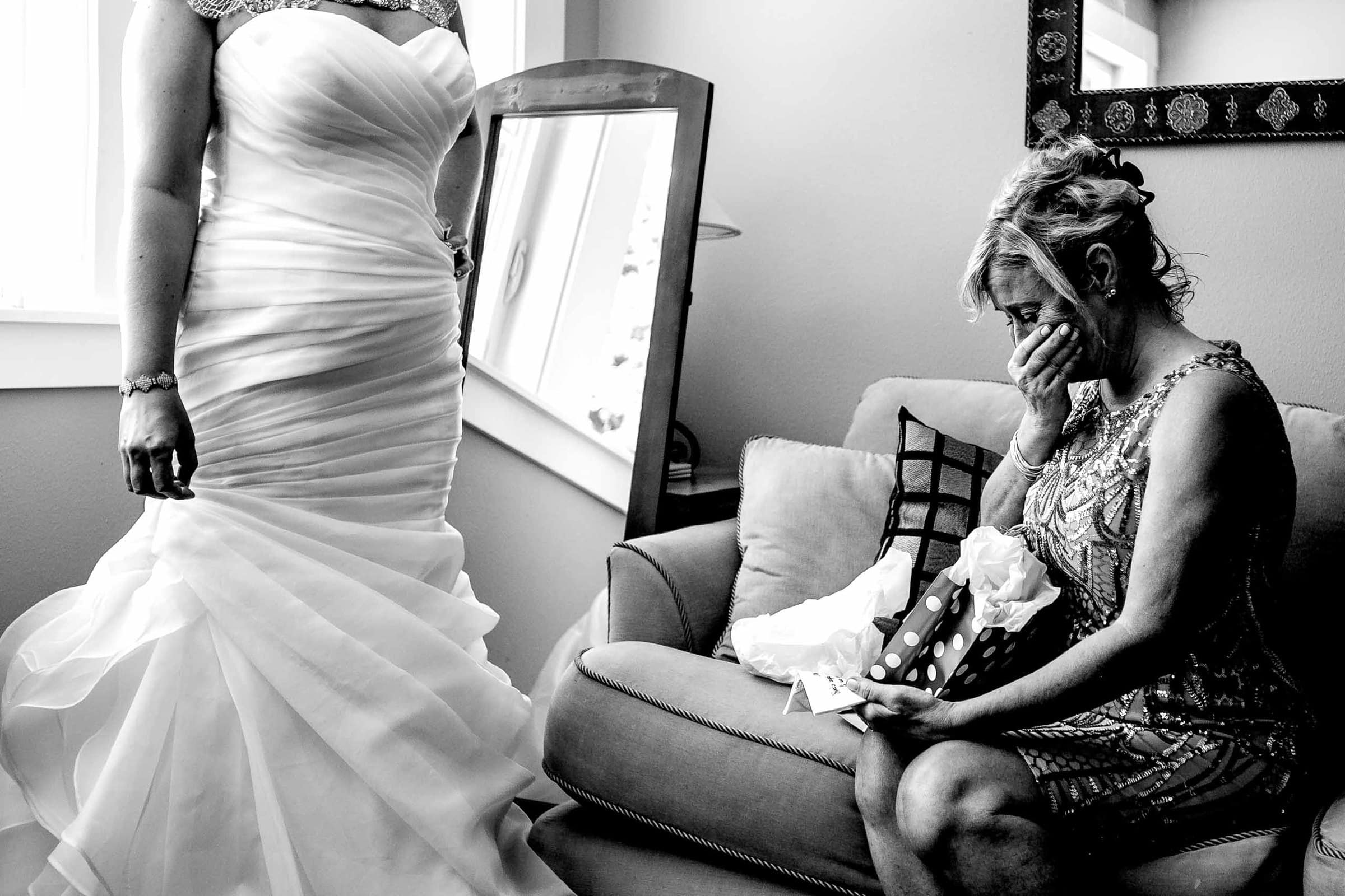 Emotional Mother with bride getting ready at Gorge Crest wedding venue near Hood River just outside Portland, Oregon.