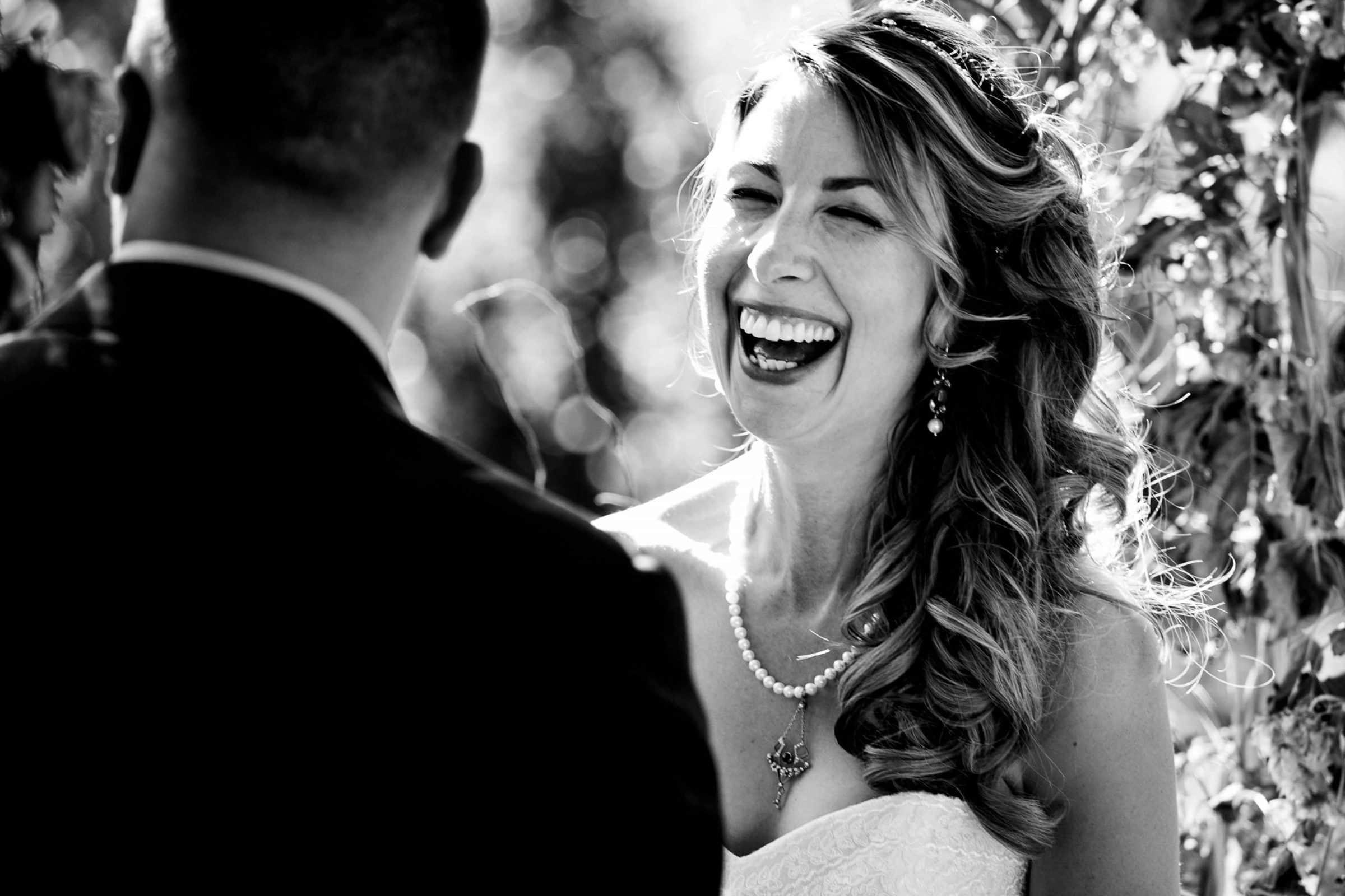 Bride laughing during a Mt Hood Organic Farms wedding