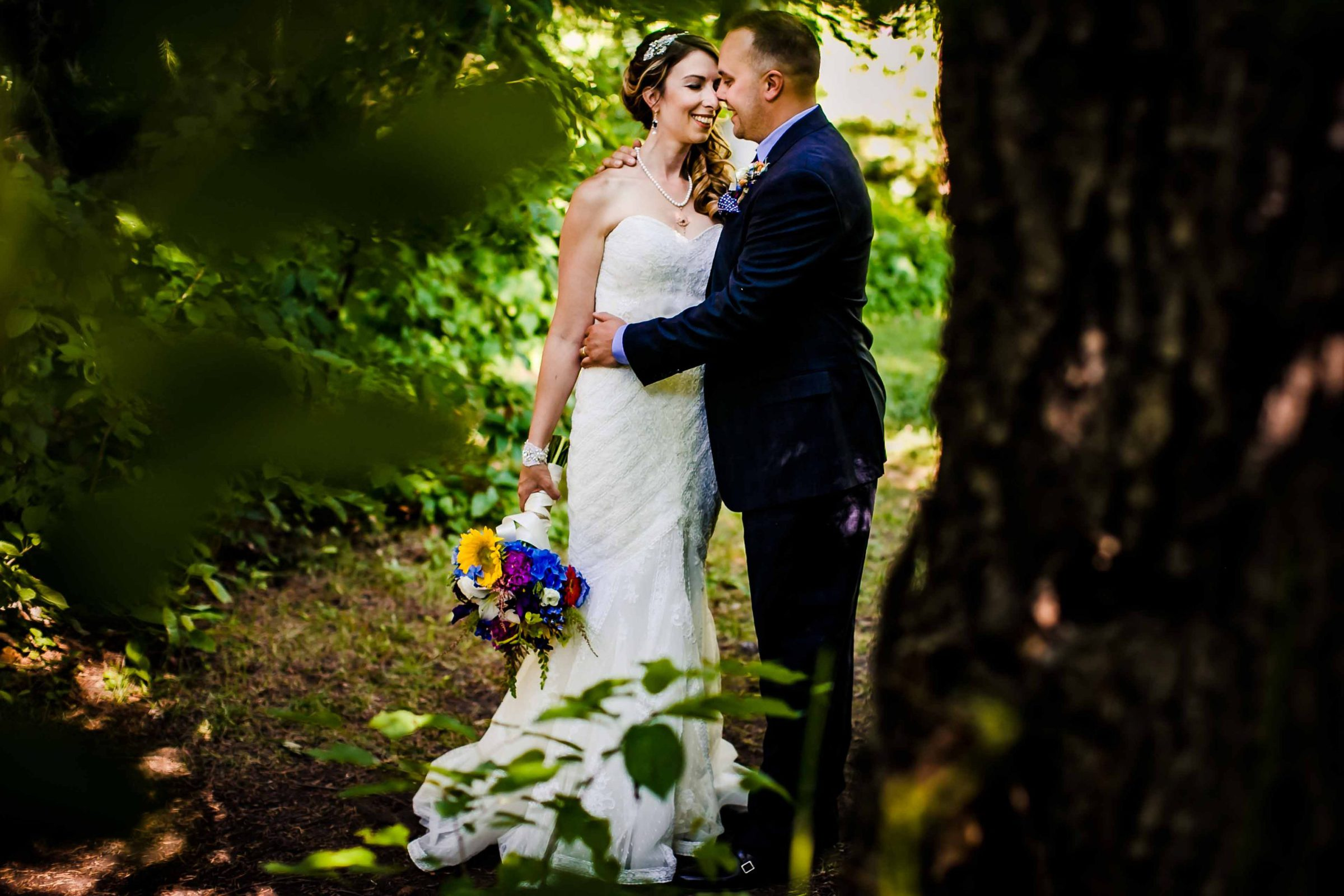 Intimate portrait of a bride and groom following their Mt Hood Organic Farms wedding ceremony