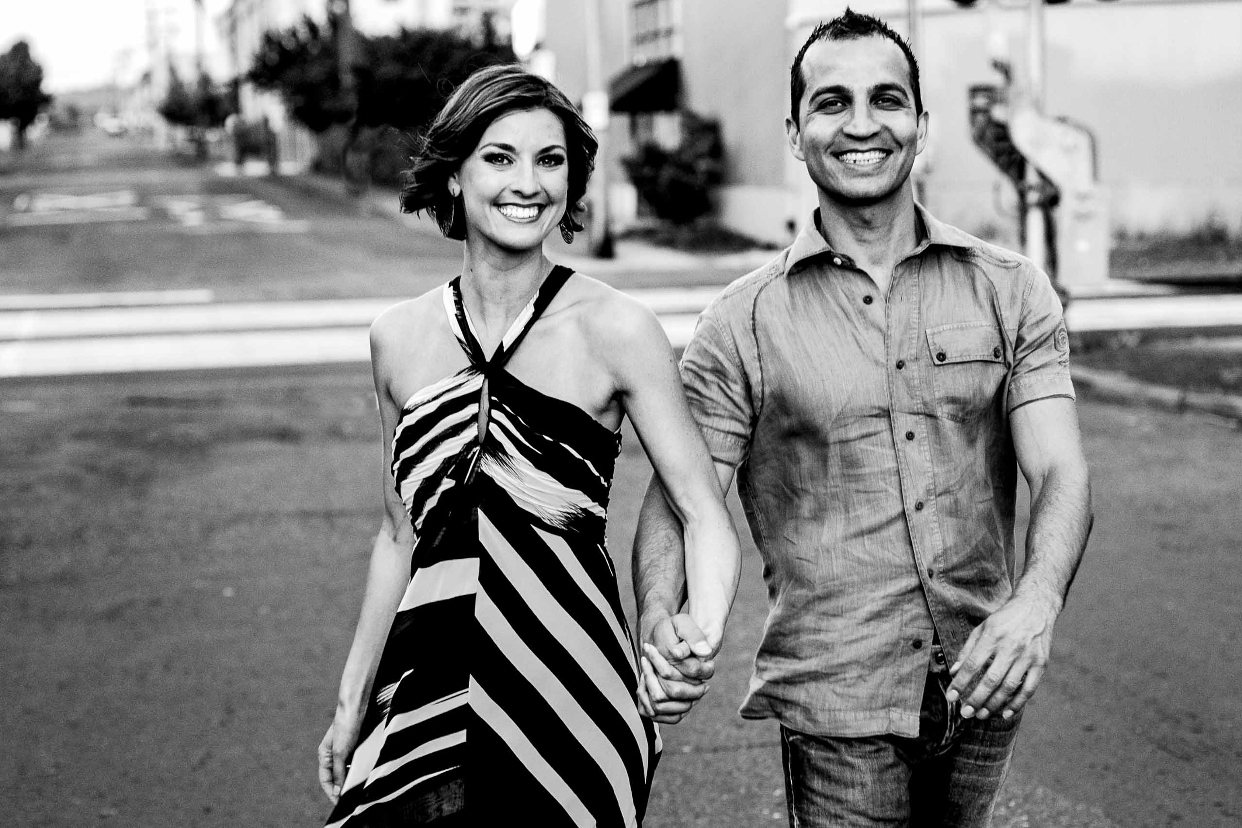 Gorgeous Portland engagement photo of a couple super happy and madly in love