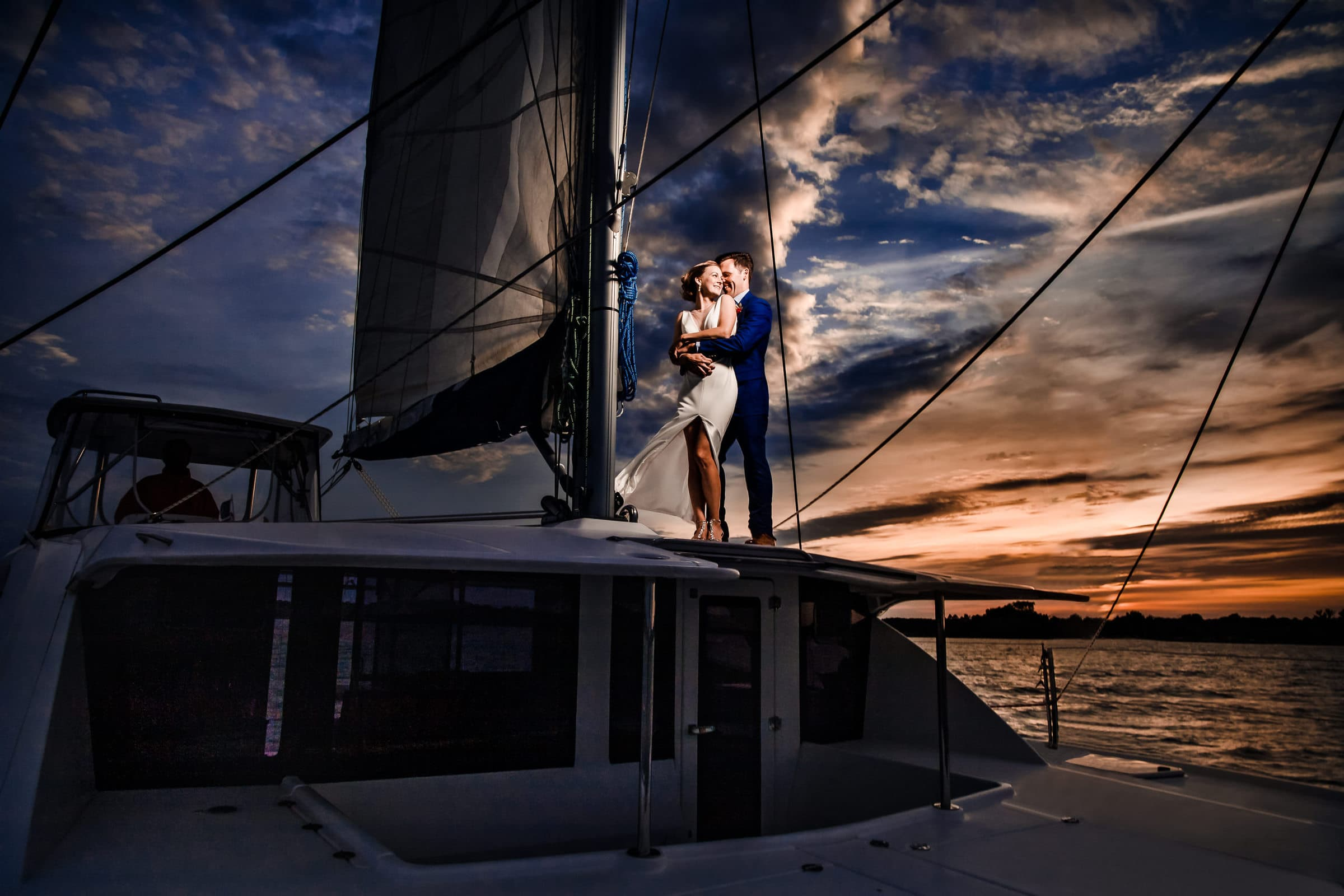 Gorgeous sunset on a catamaran for this wedding couple on the Chesapeake Bay in Maryland