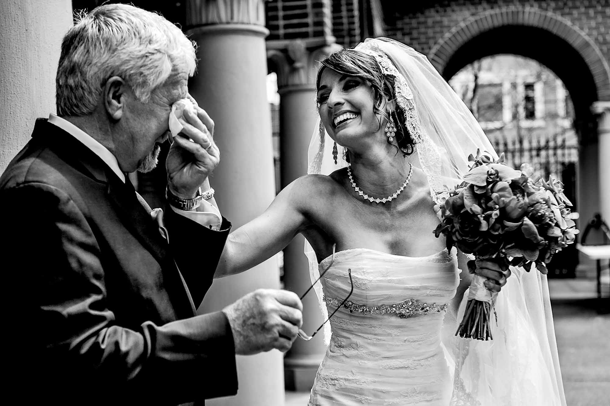Emotional dad with bride at St Marys Cathedral wedding