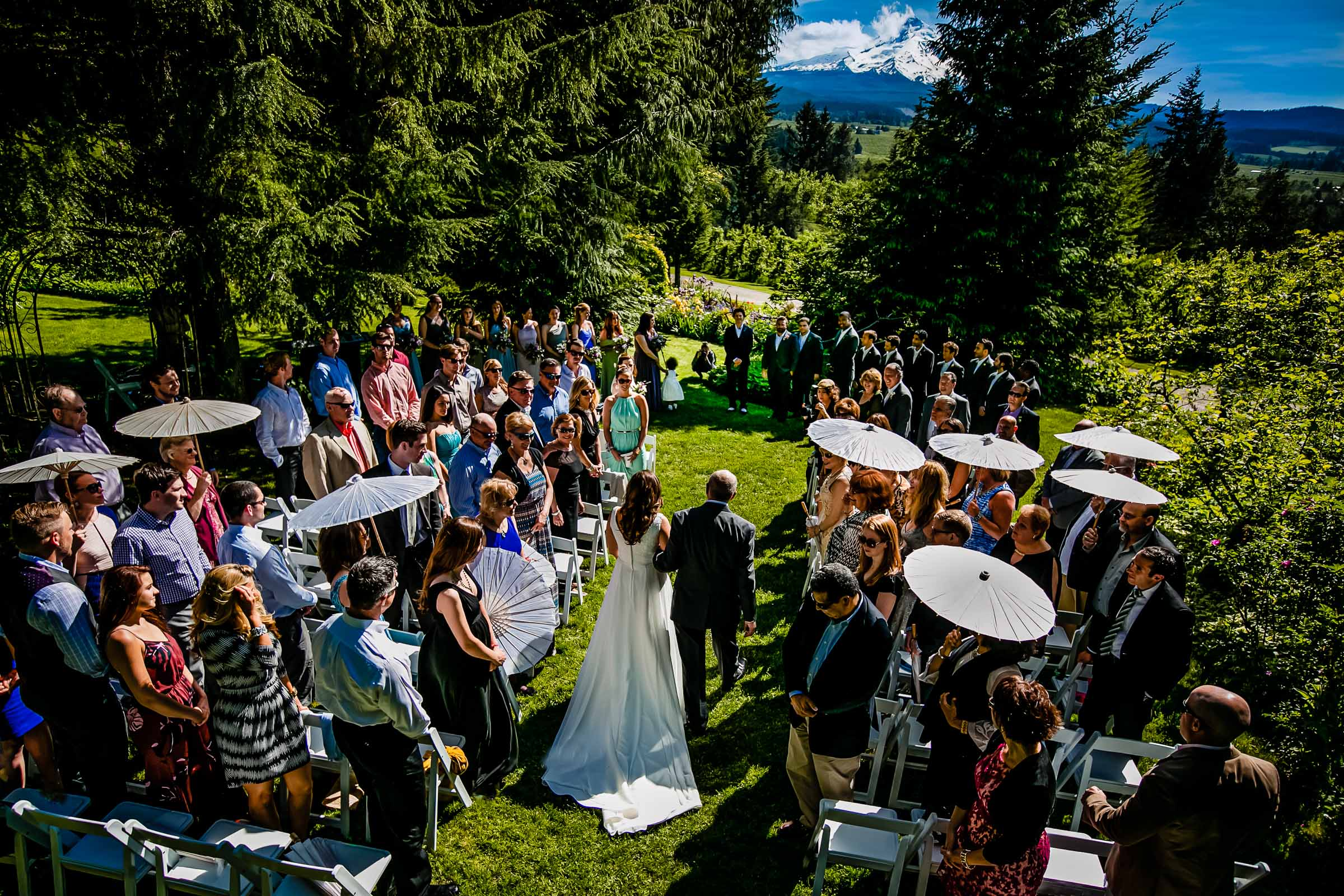Bride walking into ceremony at Mount Hood Organic Farms