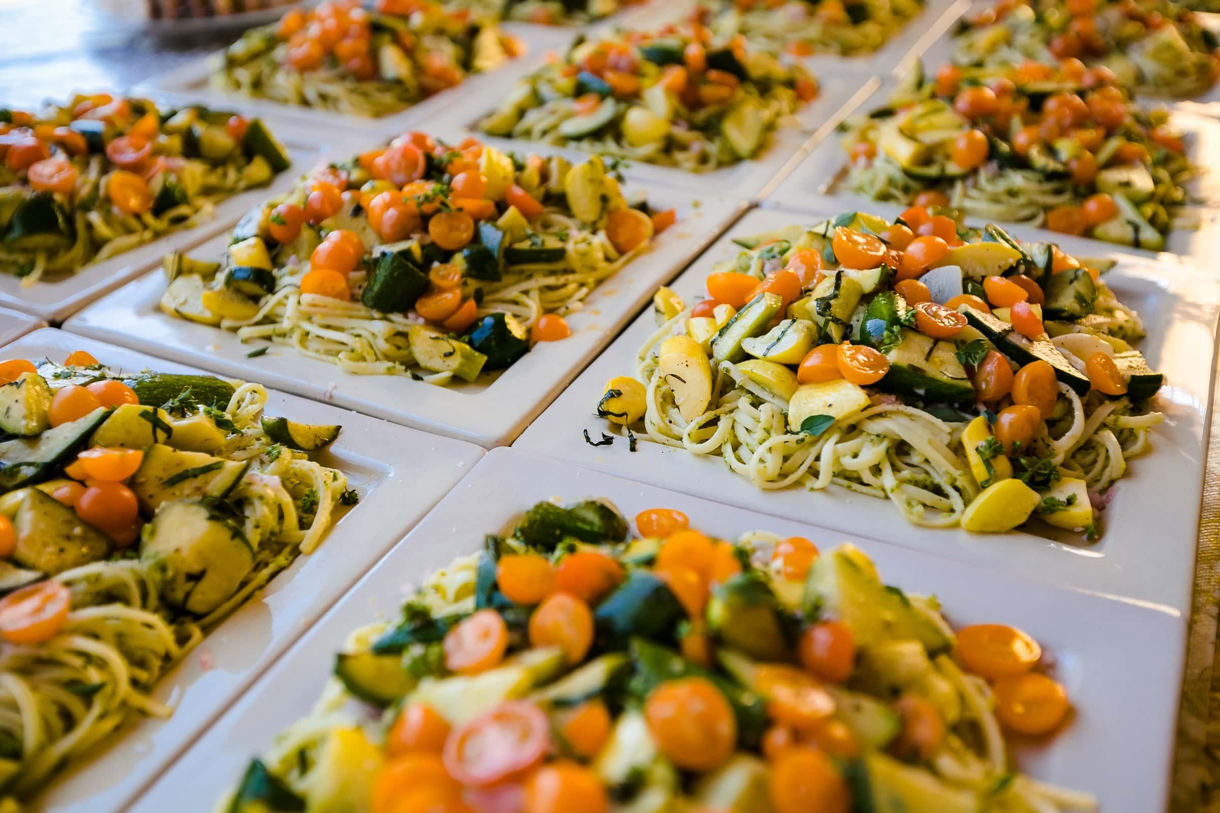 Gourmet farm to table food at a Mt Hood Organic Farms Wedding ceremony