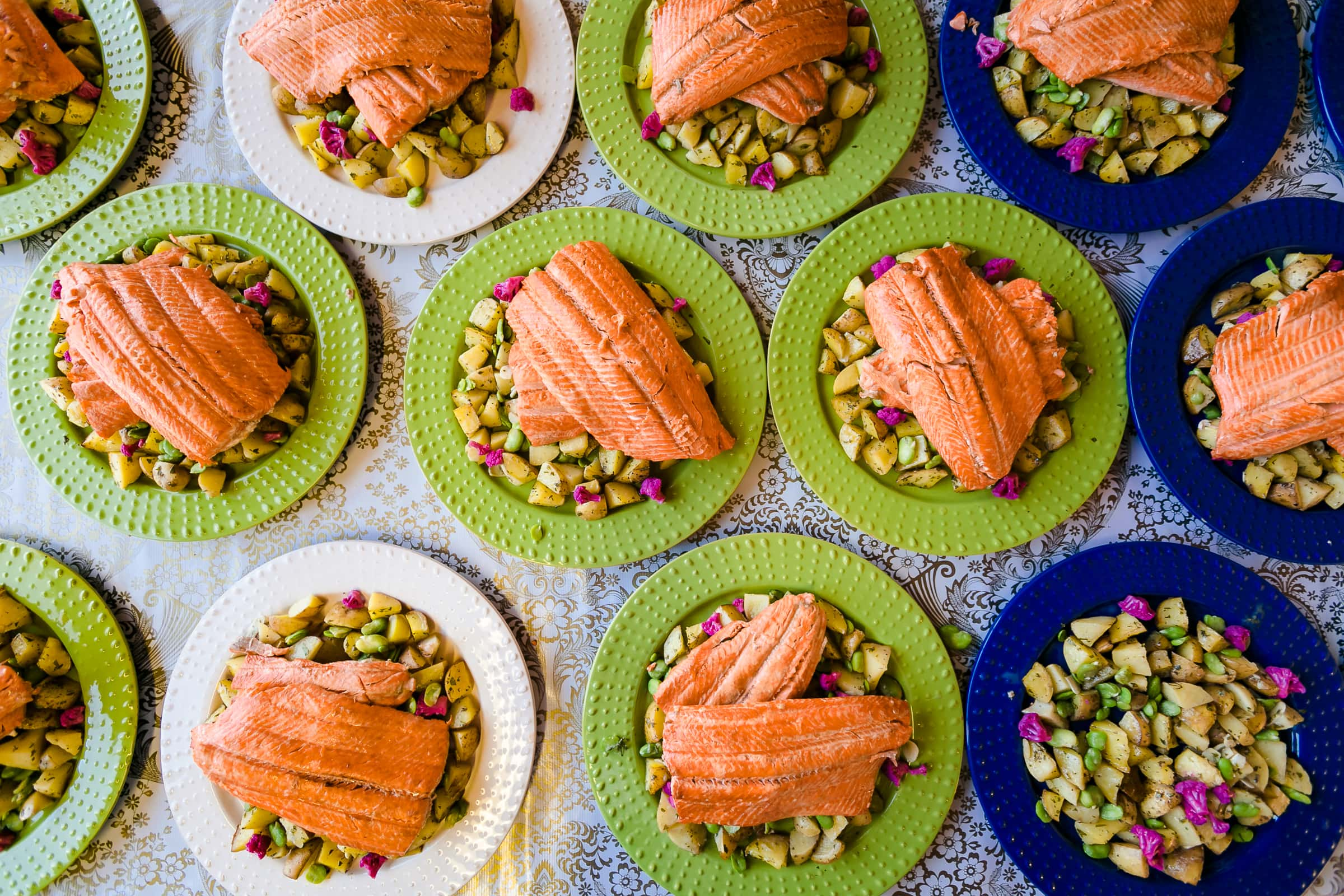 Gourmet farm to table salmon at a Mt Hood Organic Farms Wedding ceremony