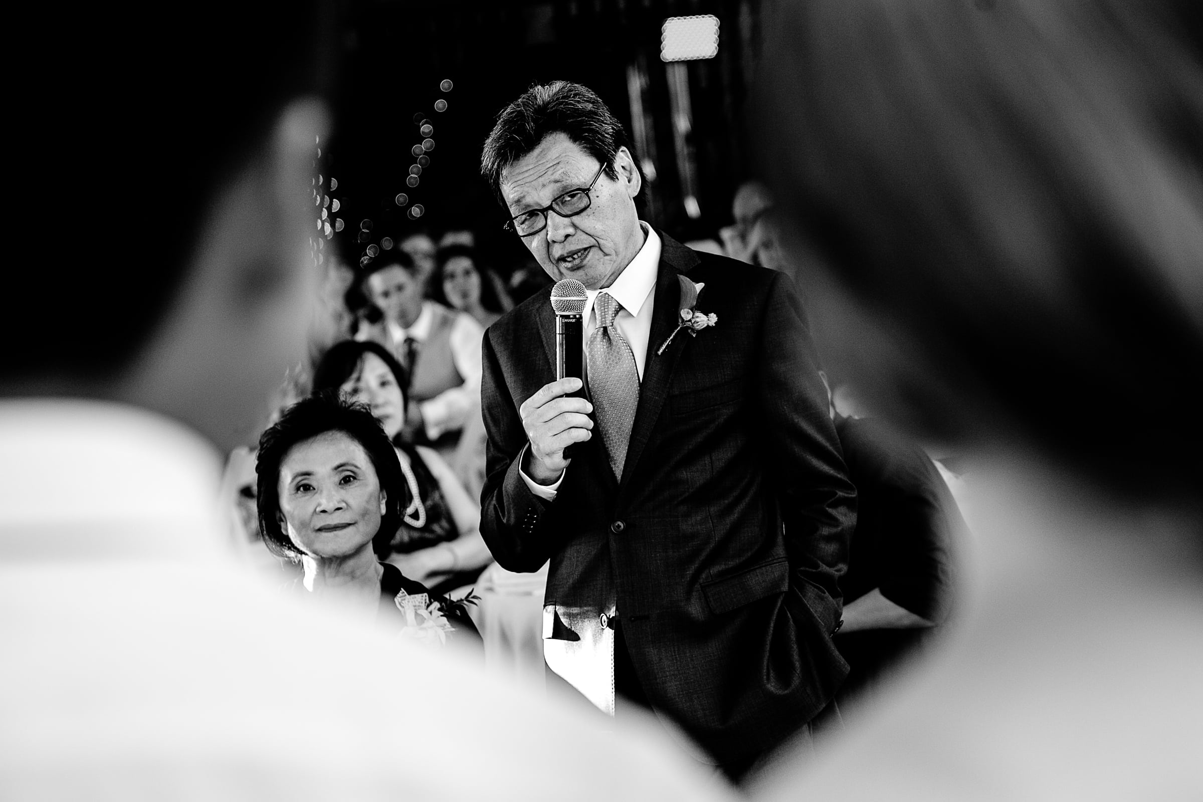 Father speech to bride and groom during their Mt Hood Organic Farms wedding reception