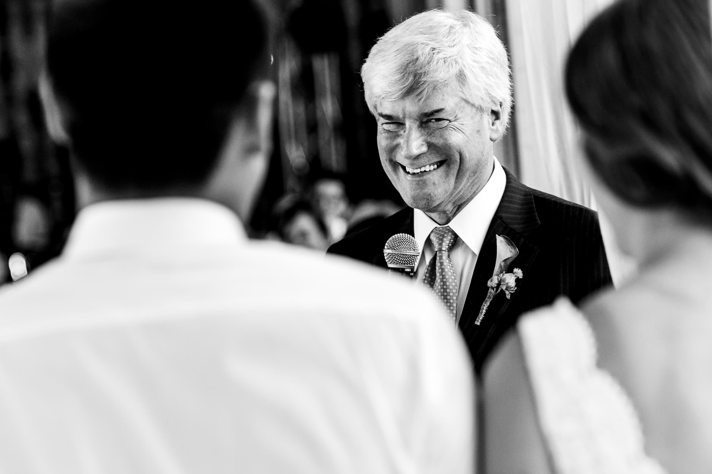 Fathers comical speech to bride and groom during their Mt Hood Organic Farms wedding reception
