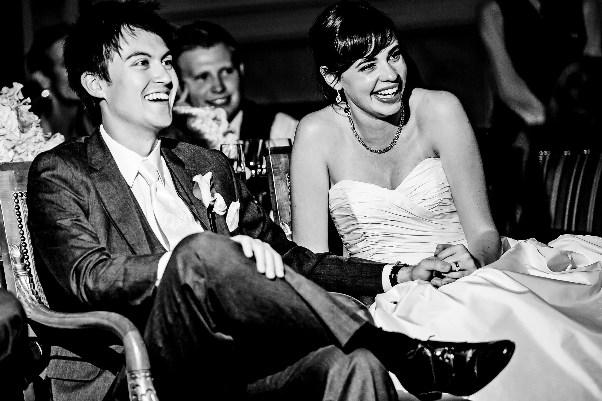 Emotional bride and groom during their Waverley Country Club wedding reception
