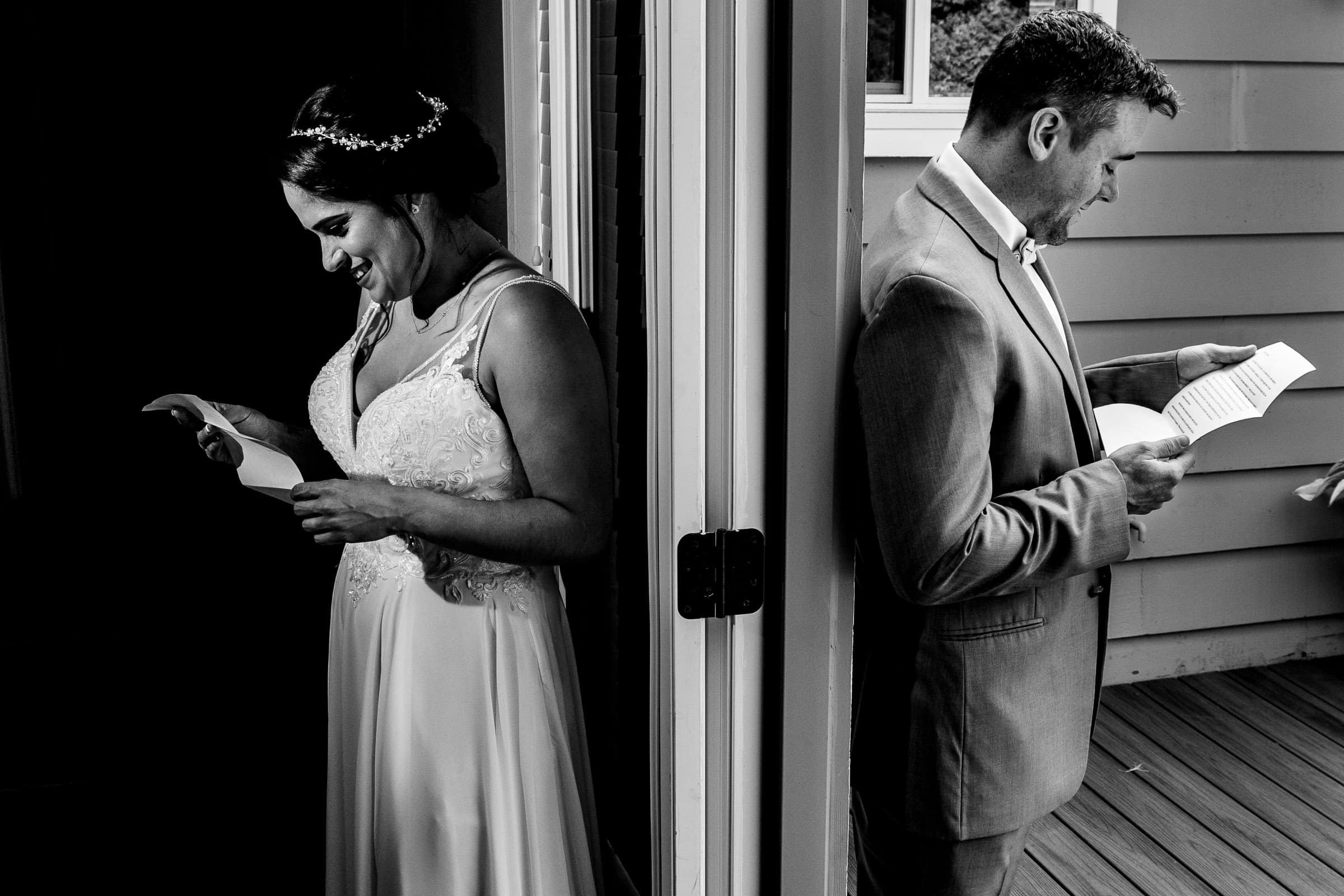 Bride and groom reading notes around a corner before their Portland Wedding elopement