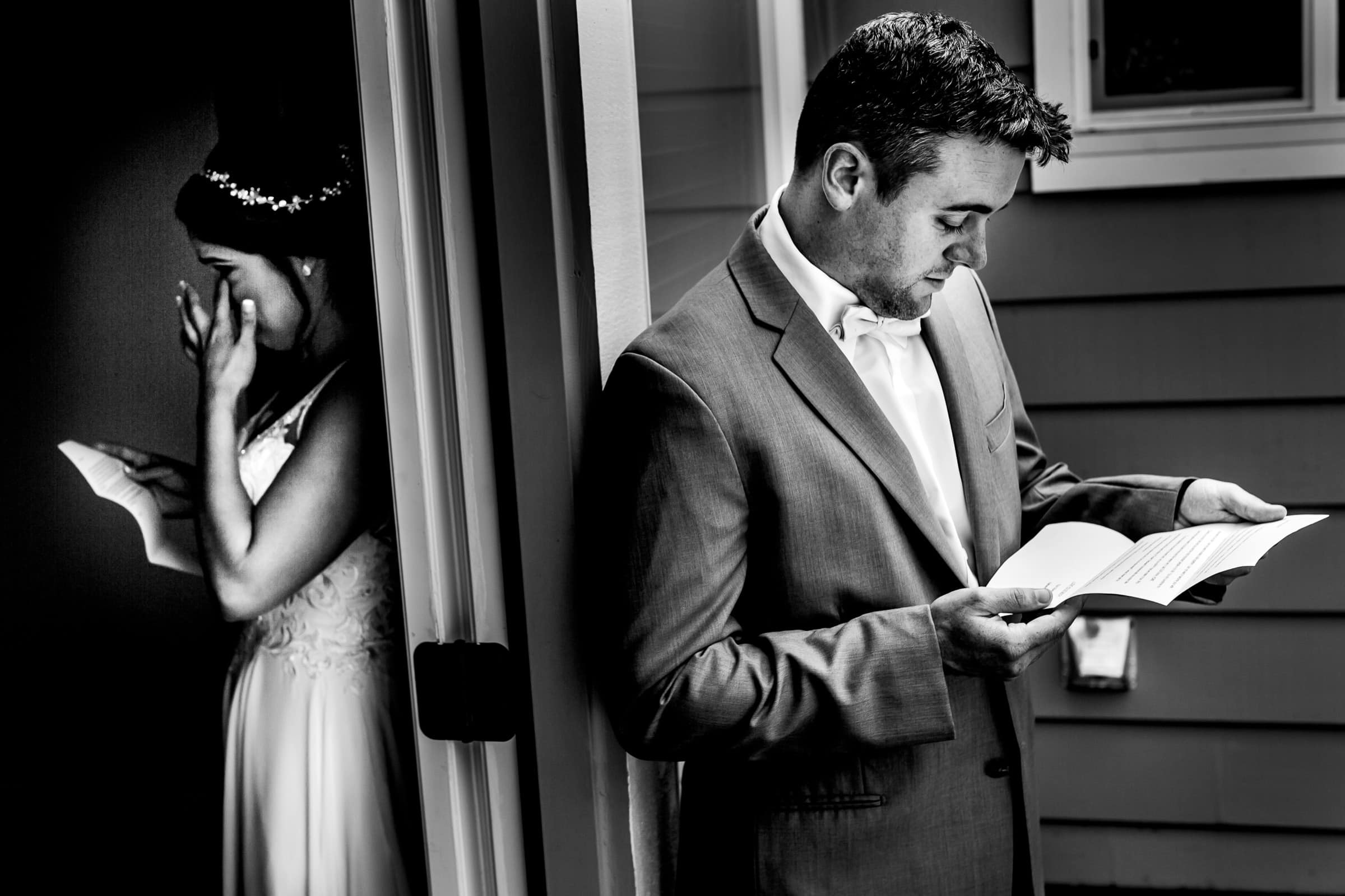Bride and groom emotional moment while reading letters around a corner before their Portland Wedding elopement