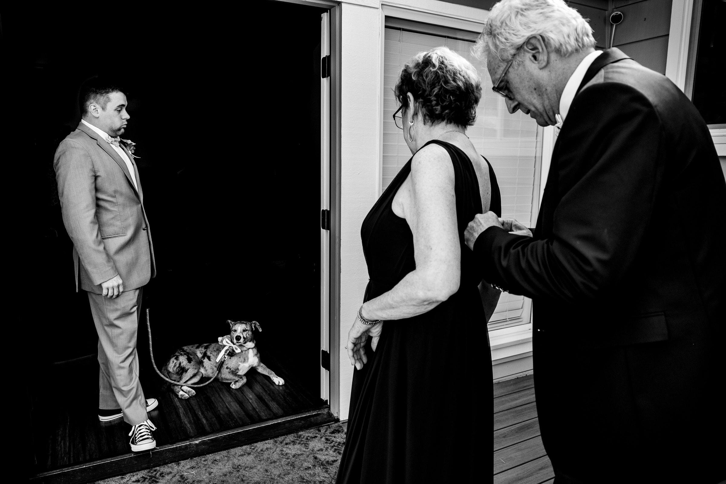 Nervous groomsman before his Portland Wedding elopement