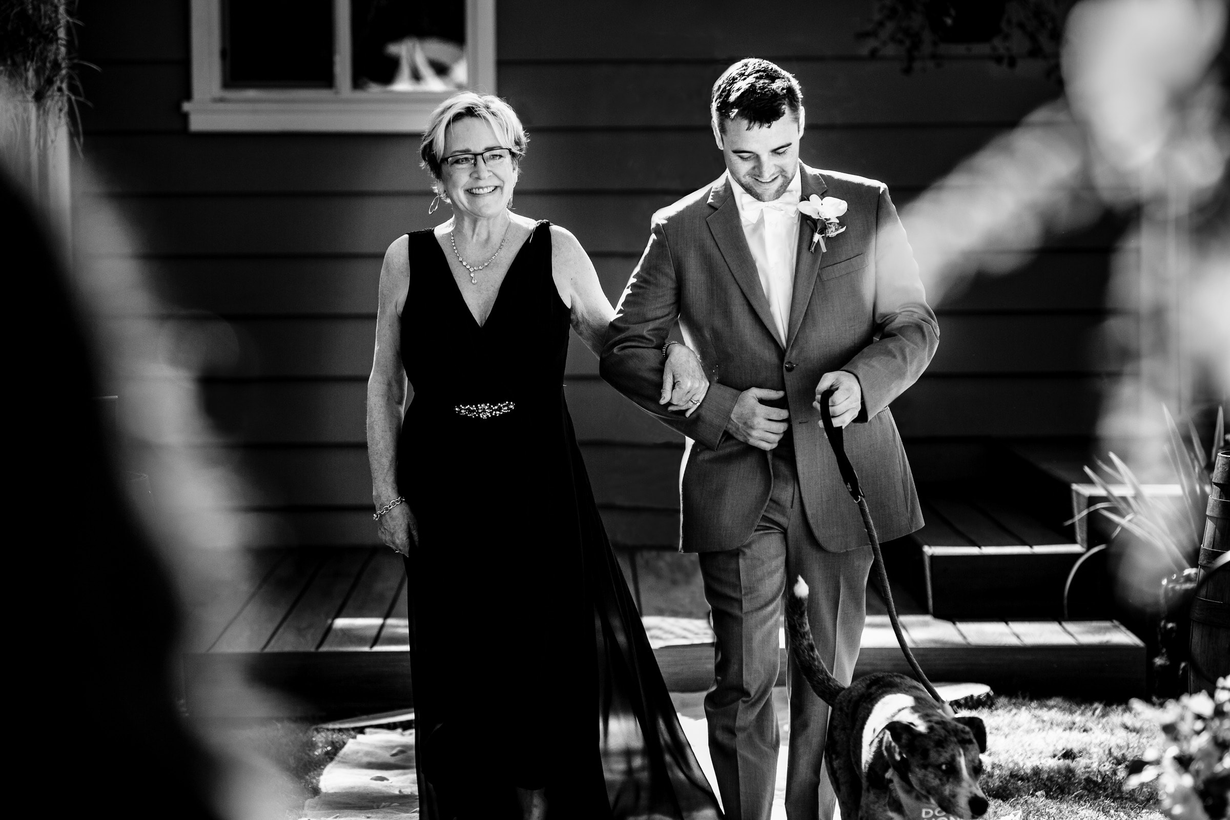 Mother and groom walking into ceremony for a Portland Wedding elopement