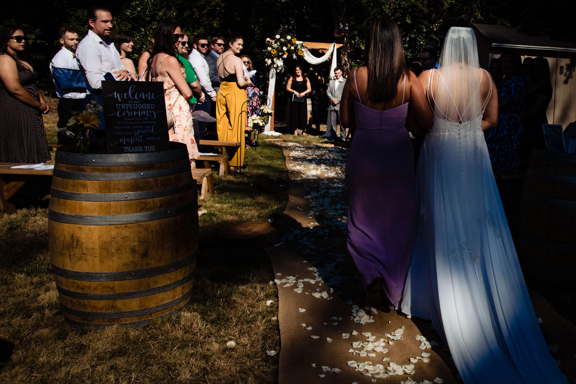 Bride walking into a Portland Wedding elopement