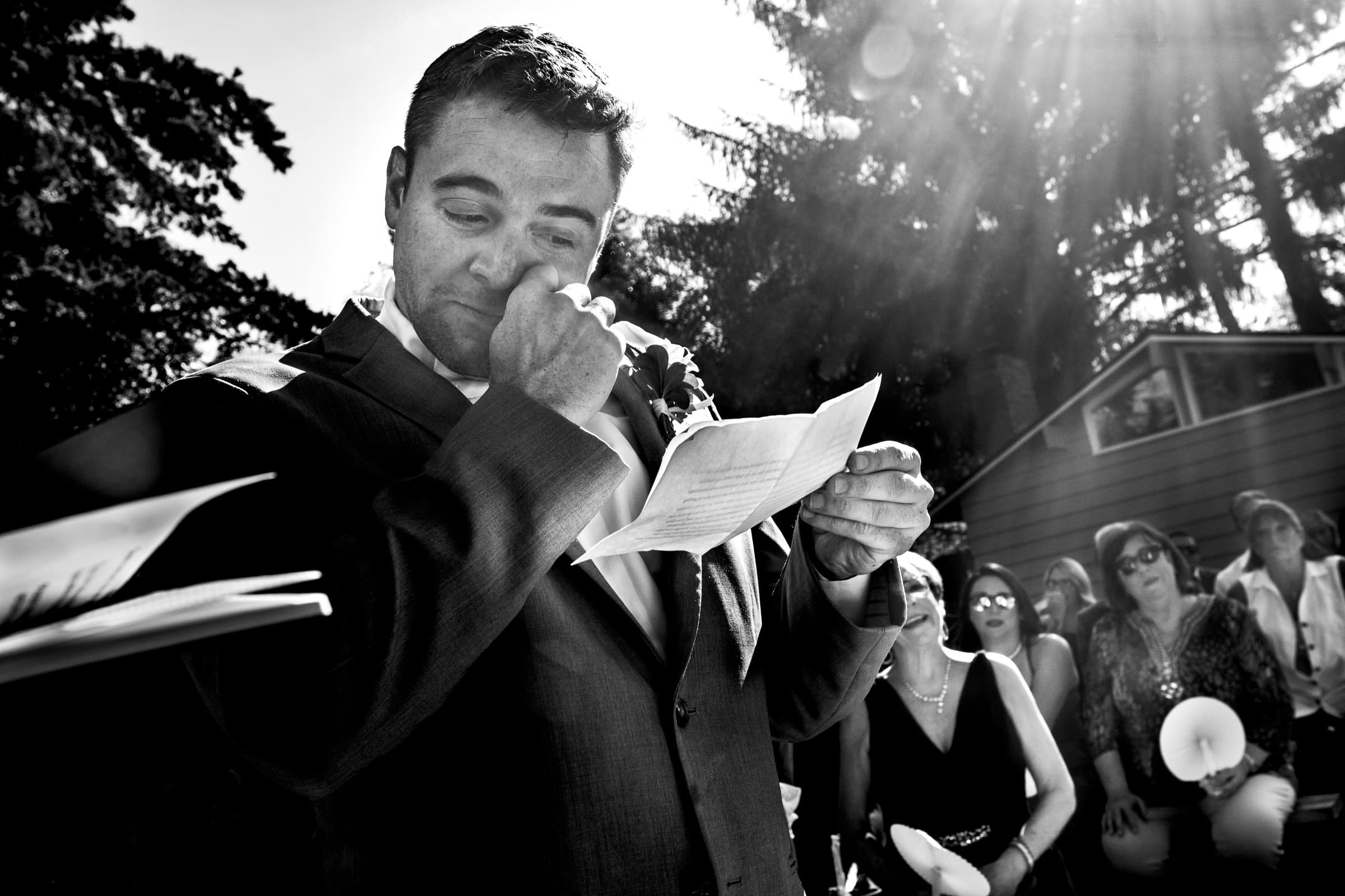 Emotional groom reading vows during a Portland Wedding elopement