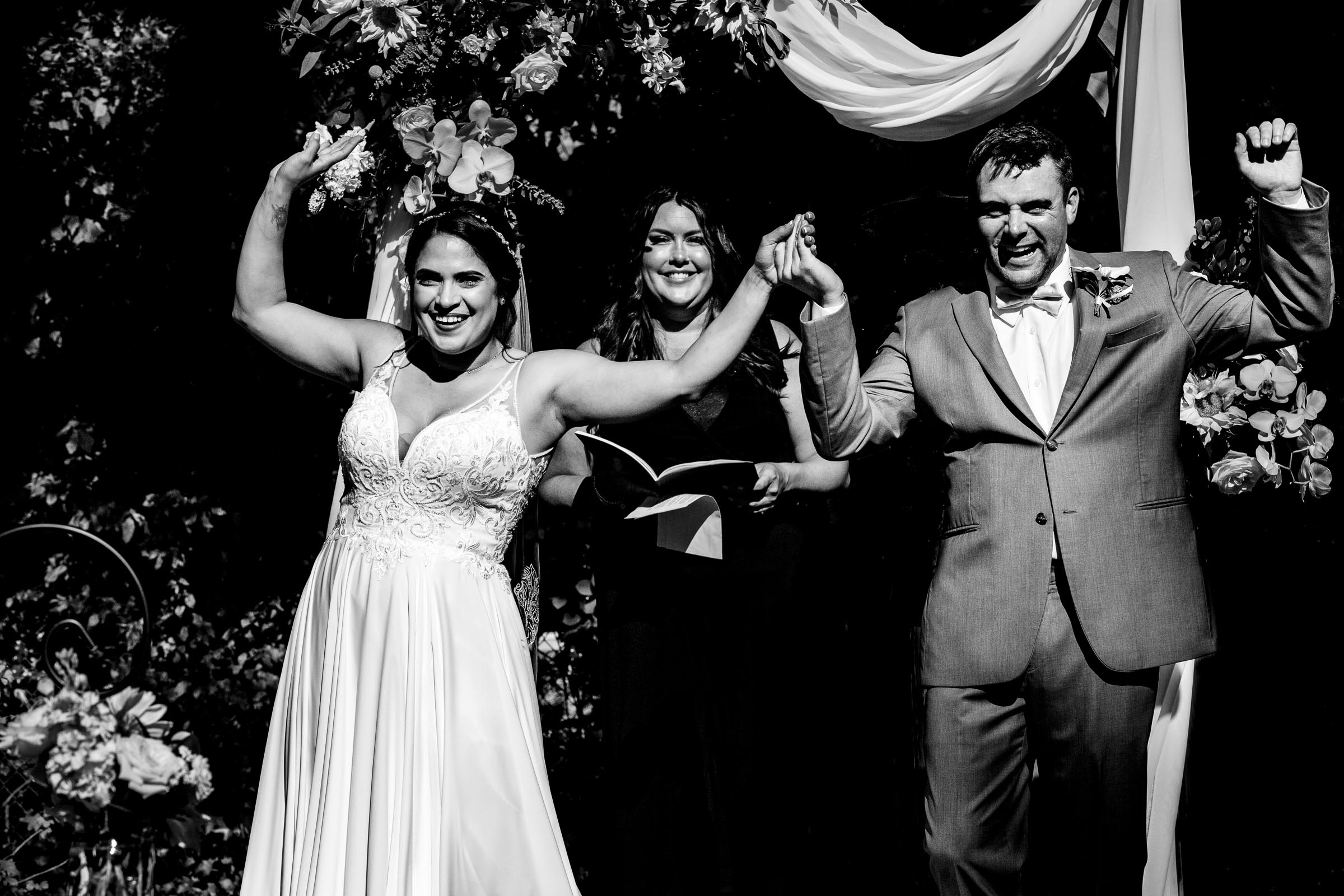 Bride and groom excited while exiting their Portland Wedding elopement