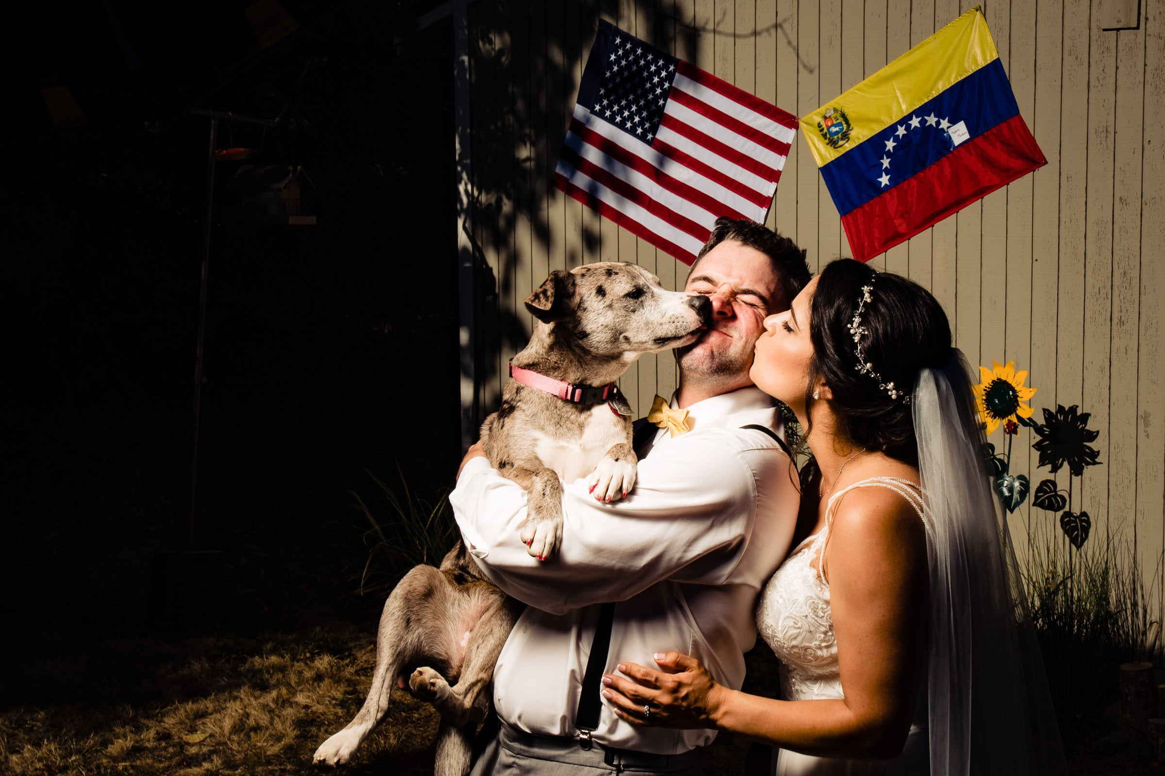Bride and groom kissing their dog during their Portland Wedding elopement